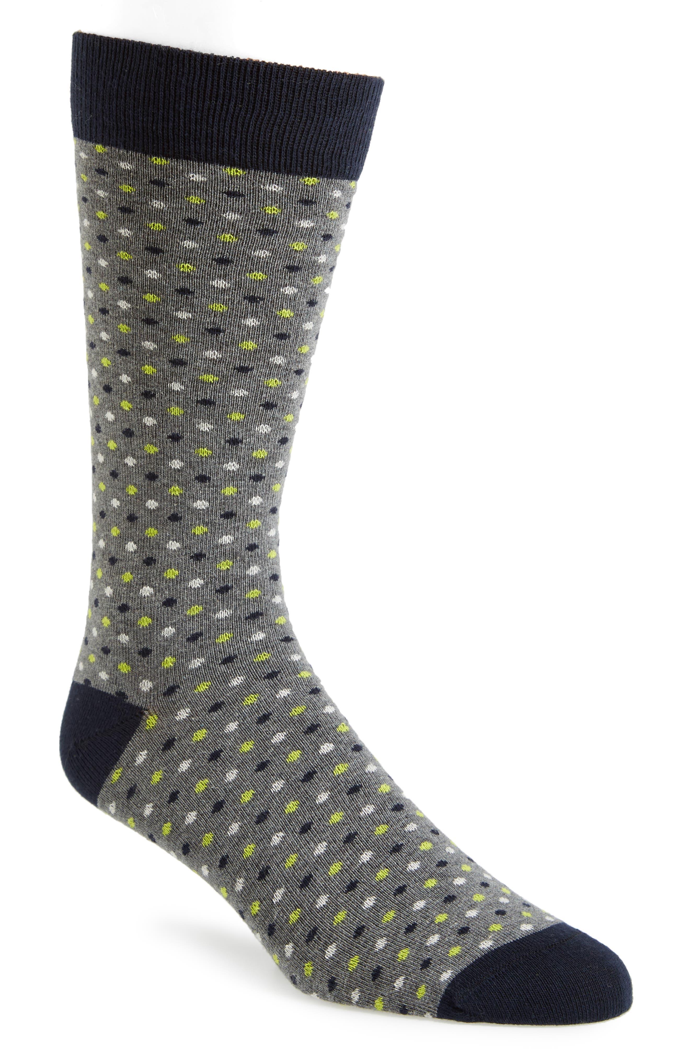 Doodle Dot Socks,                             Main thumbnail 1, color,                             Grey Marled