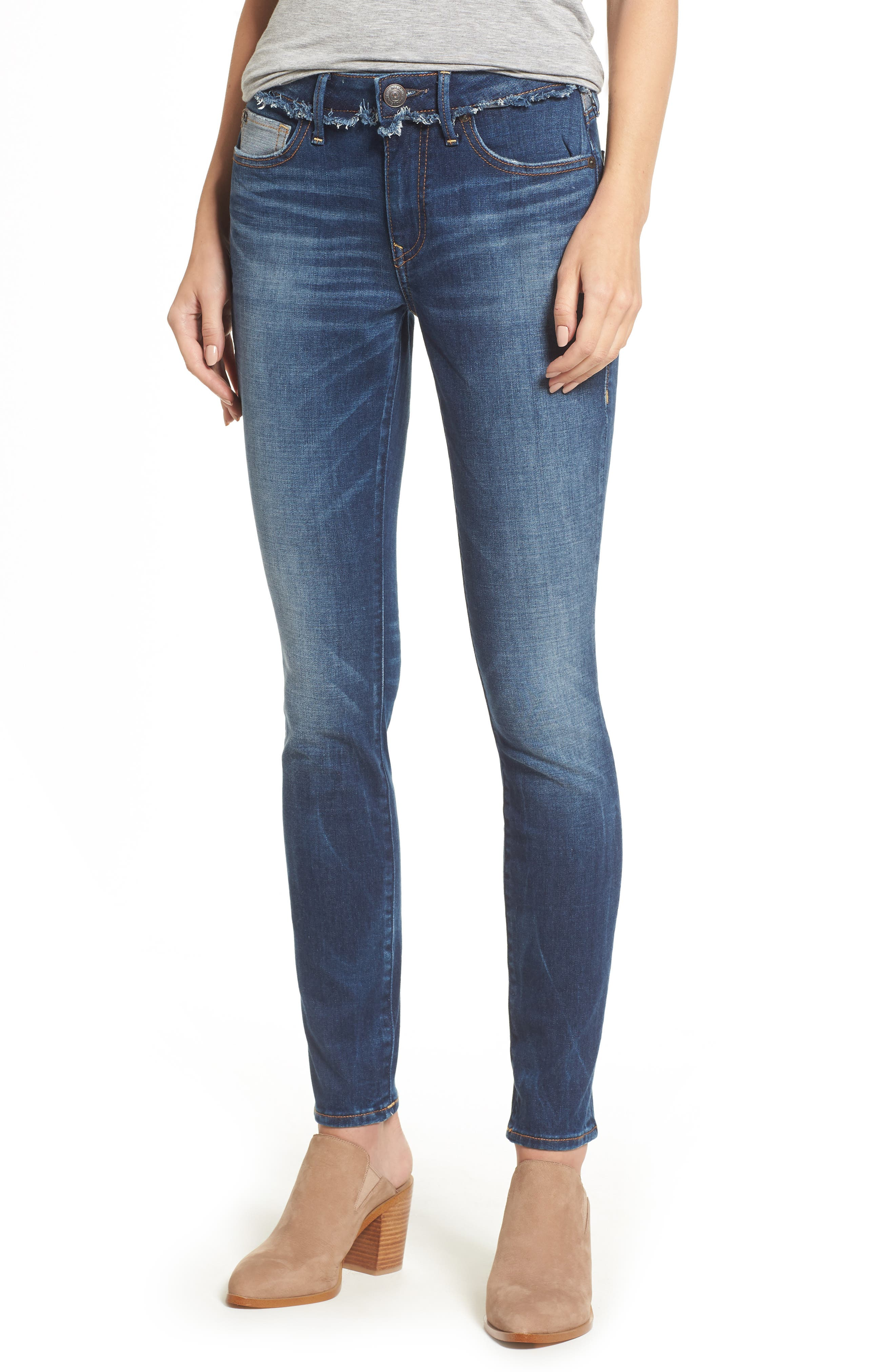 Jennie Deconstructed Skinny Jeans,                         Main,                         color, Broken Record