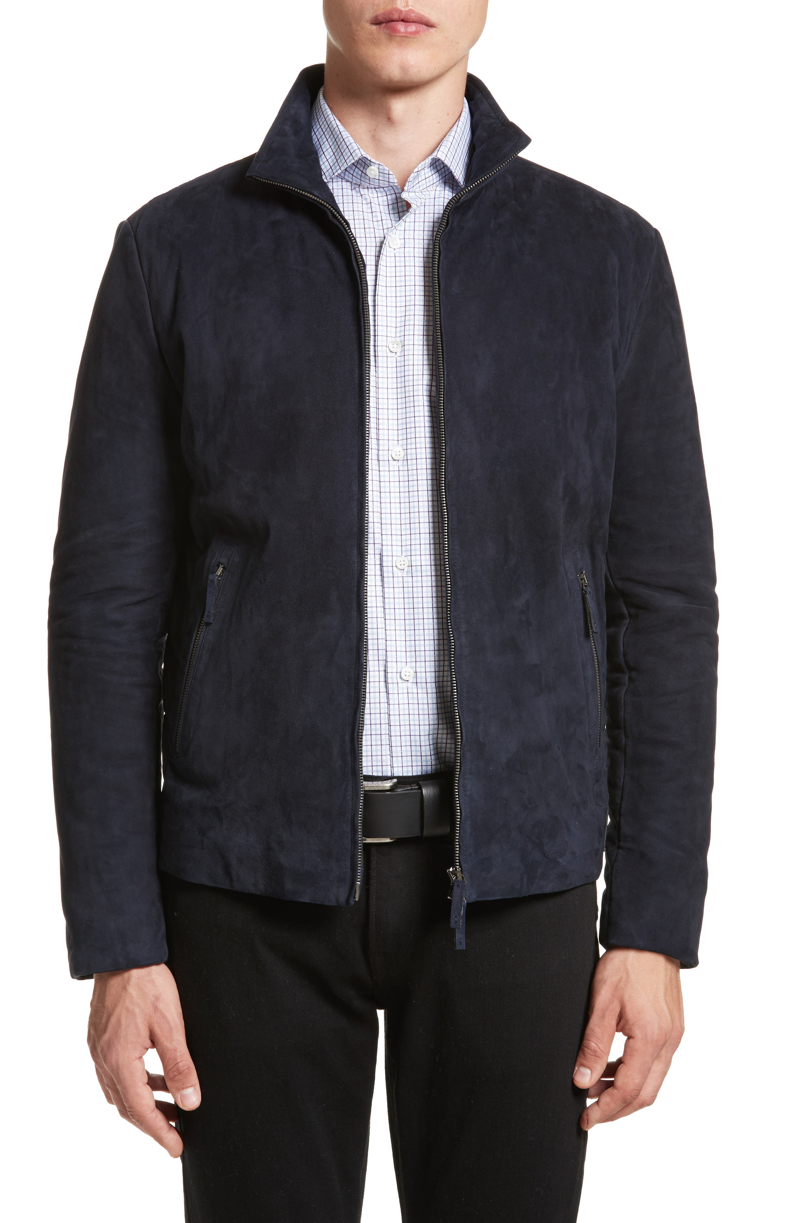 Alternate Image 1 Selected - Armani Collezioni Regular Fit Mixed Media Jacket
