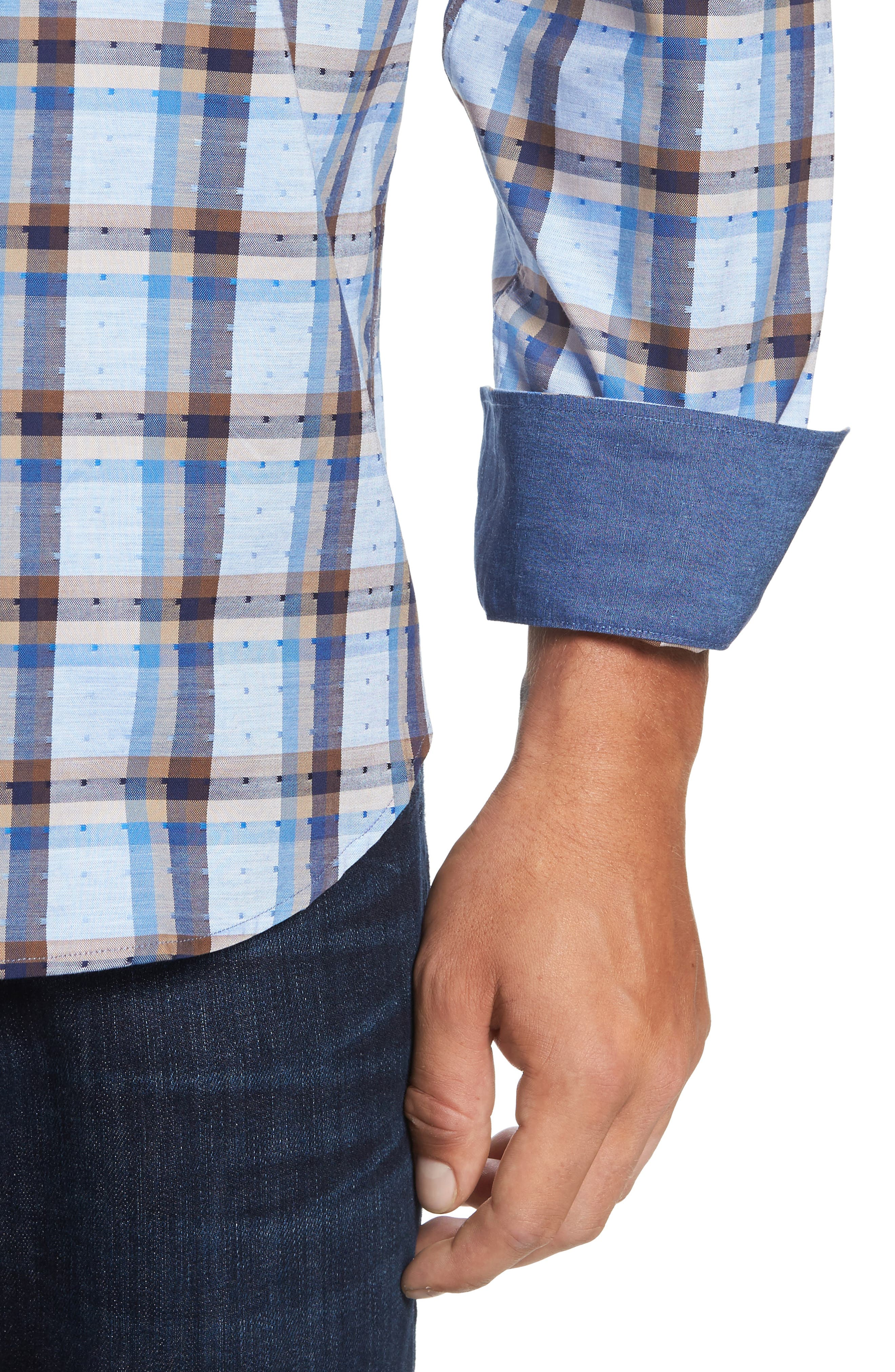 Classic Fit Dobby Check Sport Shirt,                             Alternate thumbnail 4, color,                             Sky
