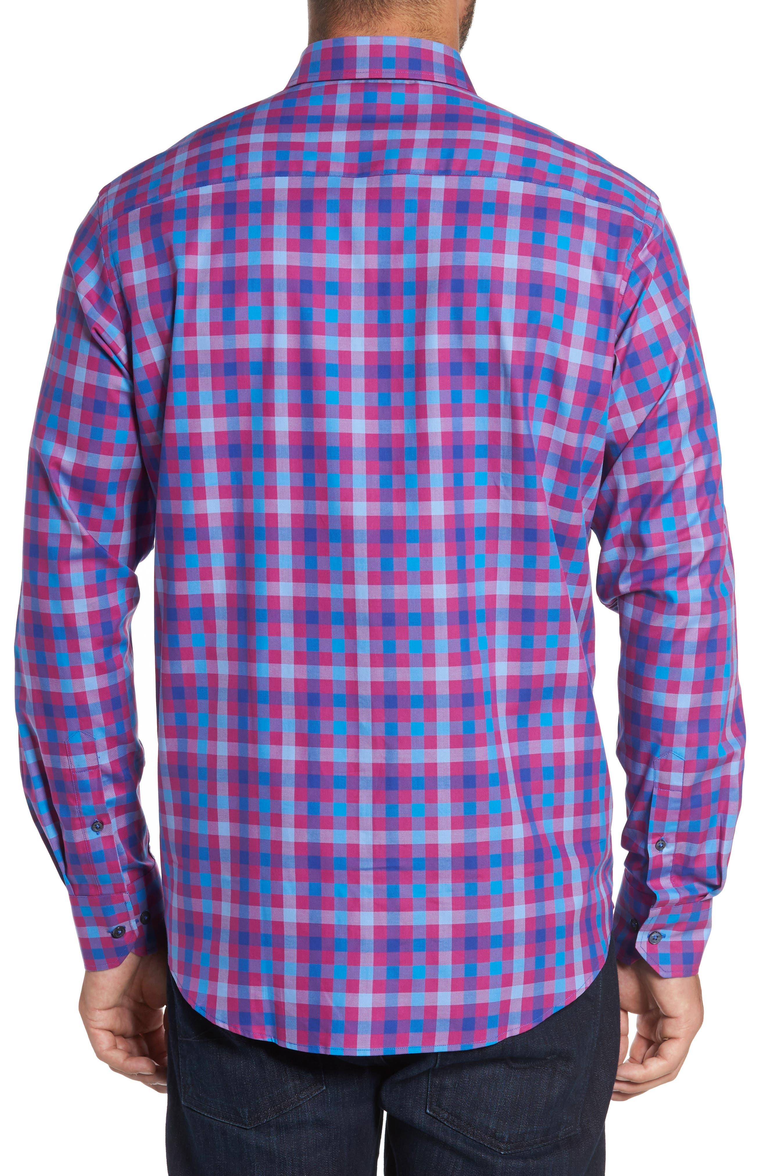 Classic Fit Check Sport Shirt,                             Alternate thumbnail 2, color,                             Fushia
