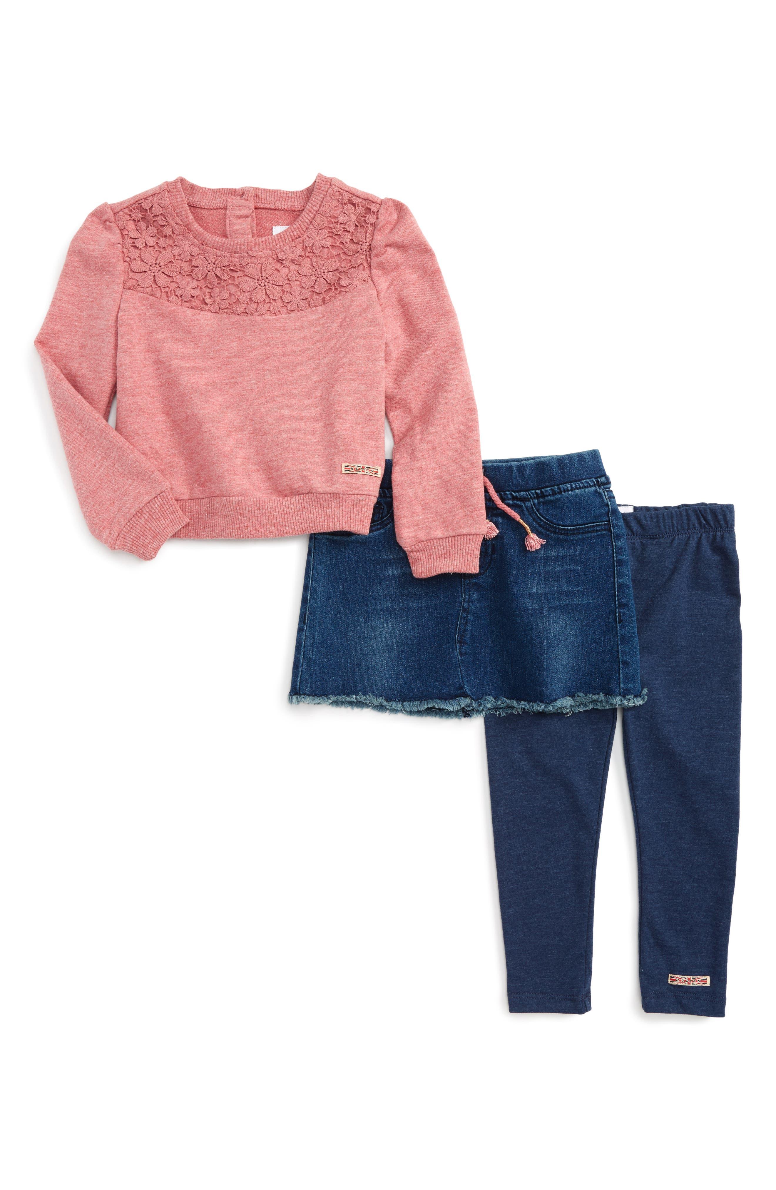 Hudson Kids Crochet Pullover, Denim Skirt & Leggings Set (Toddler Girls)