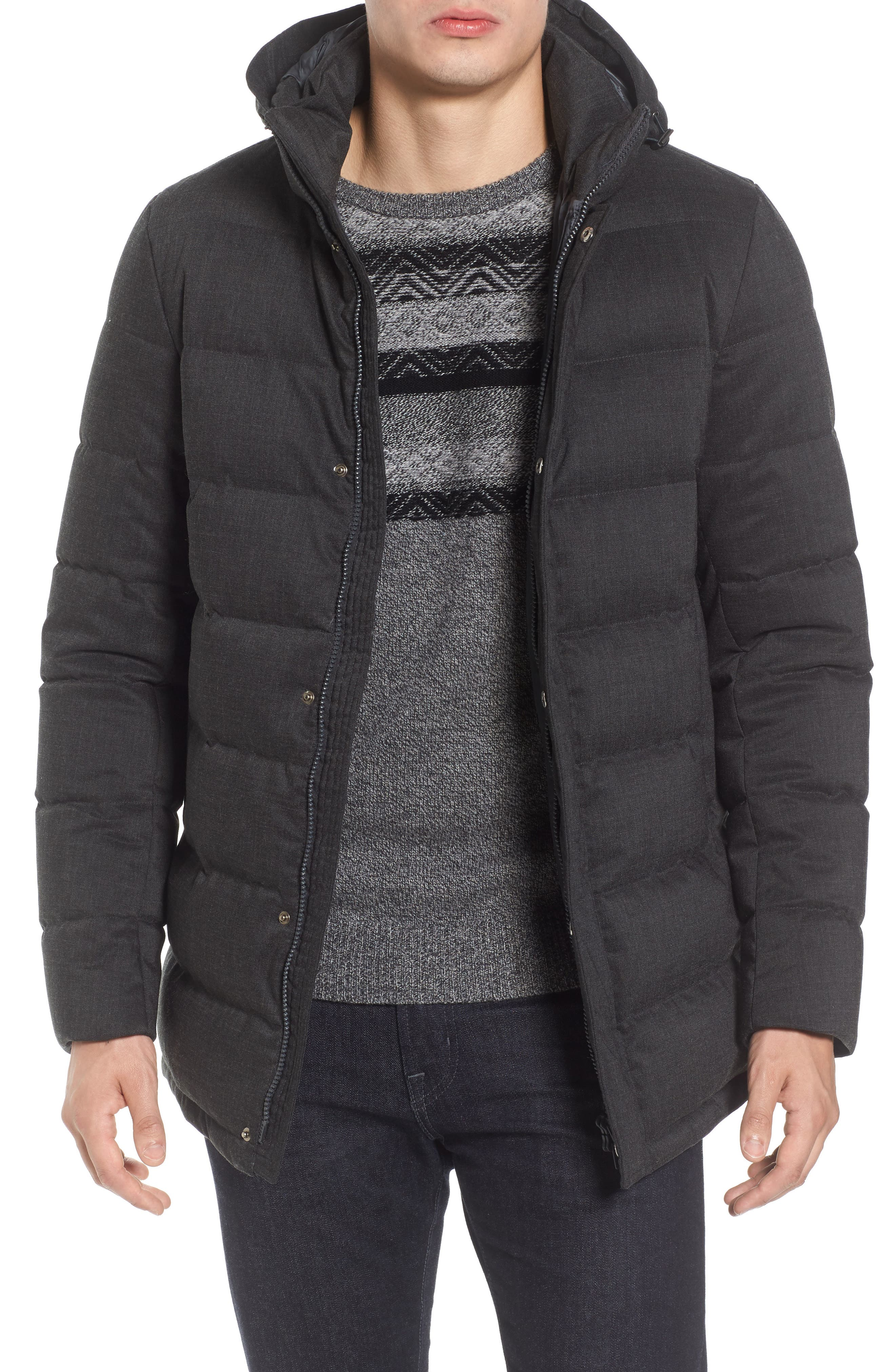 Techno Quilted Waterproof Down Jacket,                         Main,                         color, Charcoal