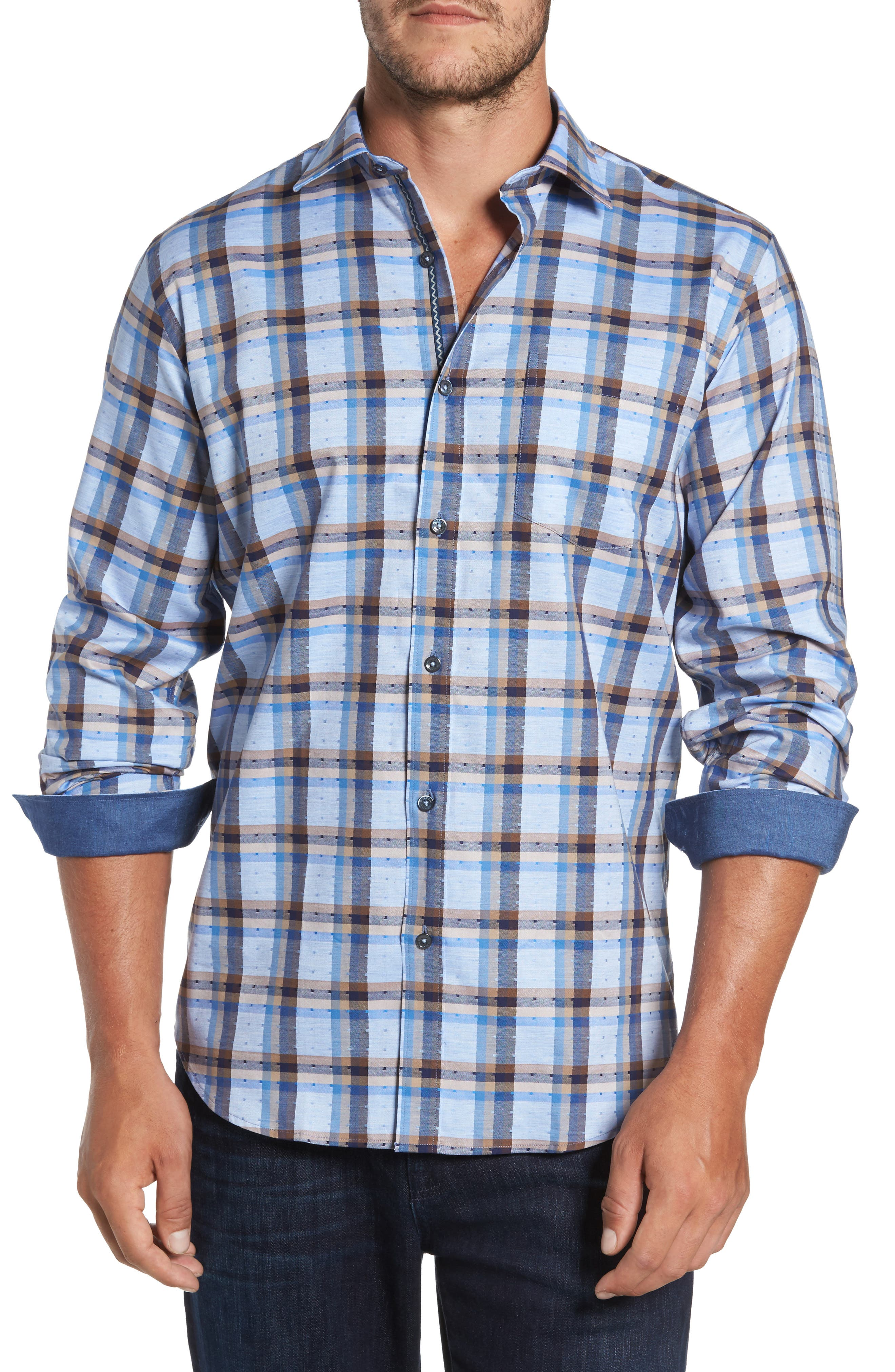 Classic Fit Dobby Check Sport Shirt,                         Main,                         color, Sky