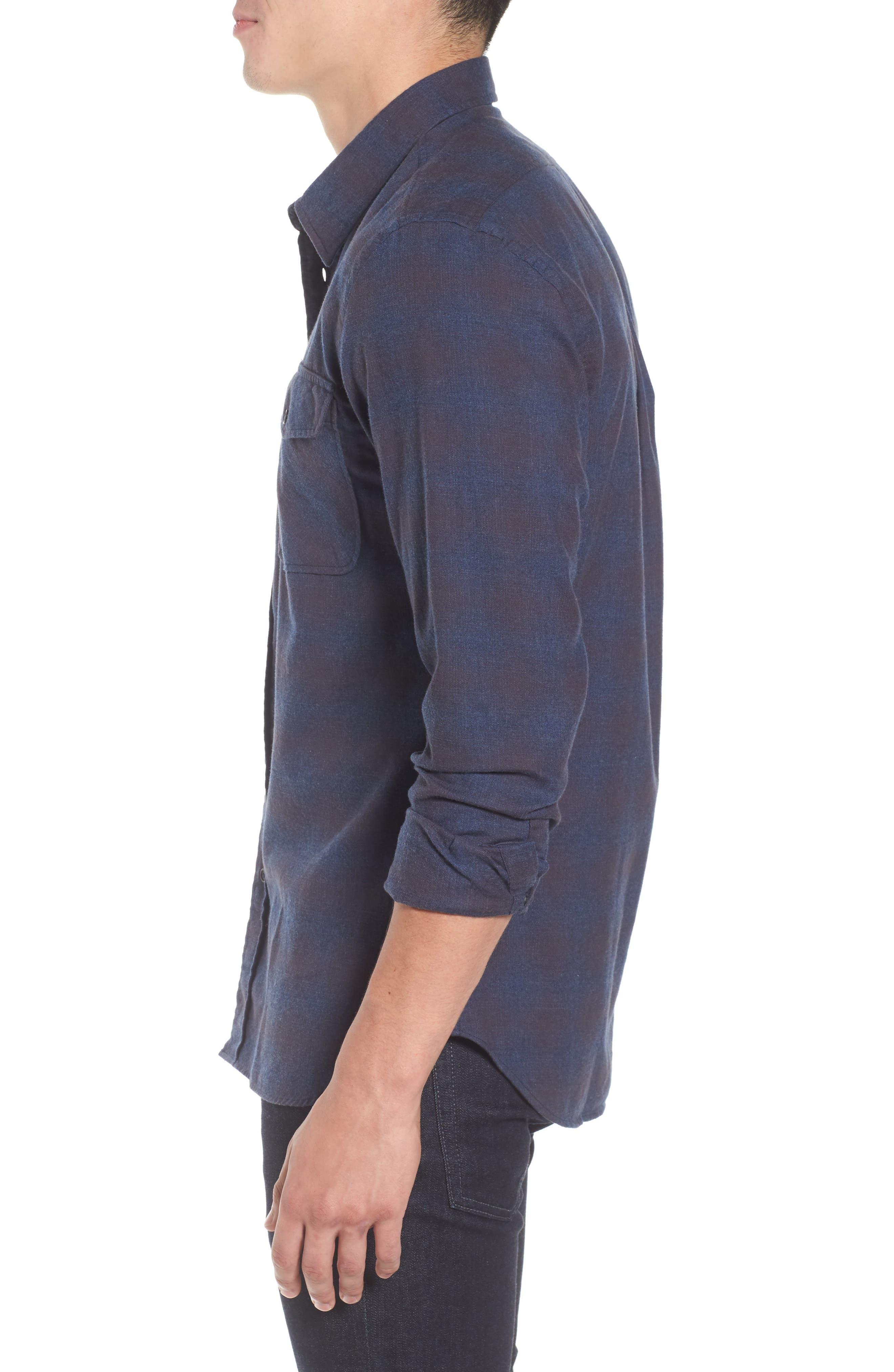 Graham Standard Fit Check Sport Shirt,                             Alternate thumbnail 3, color,                             Navy