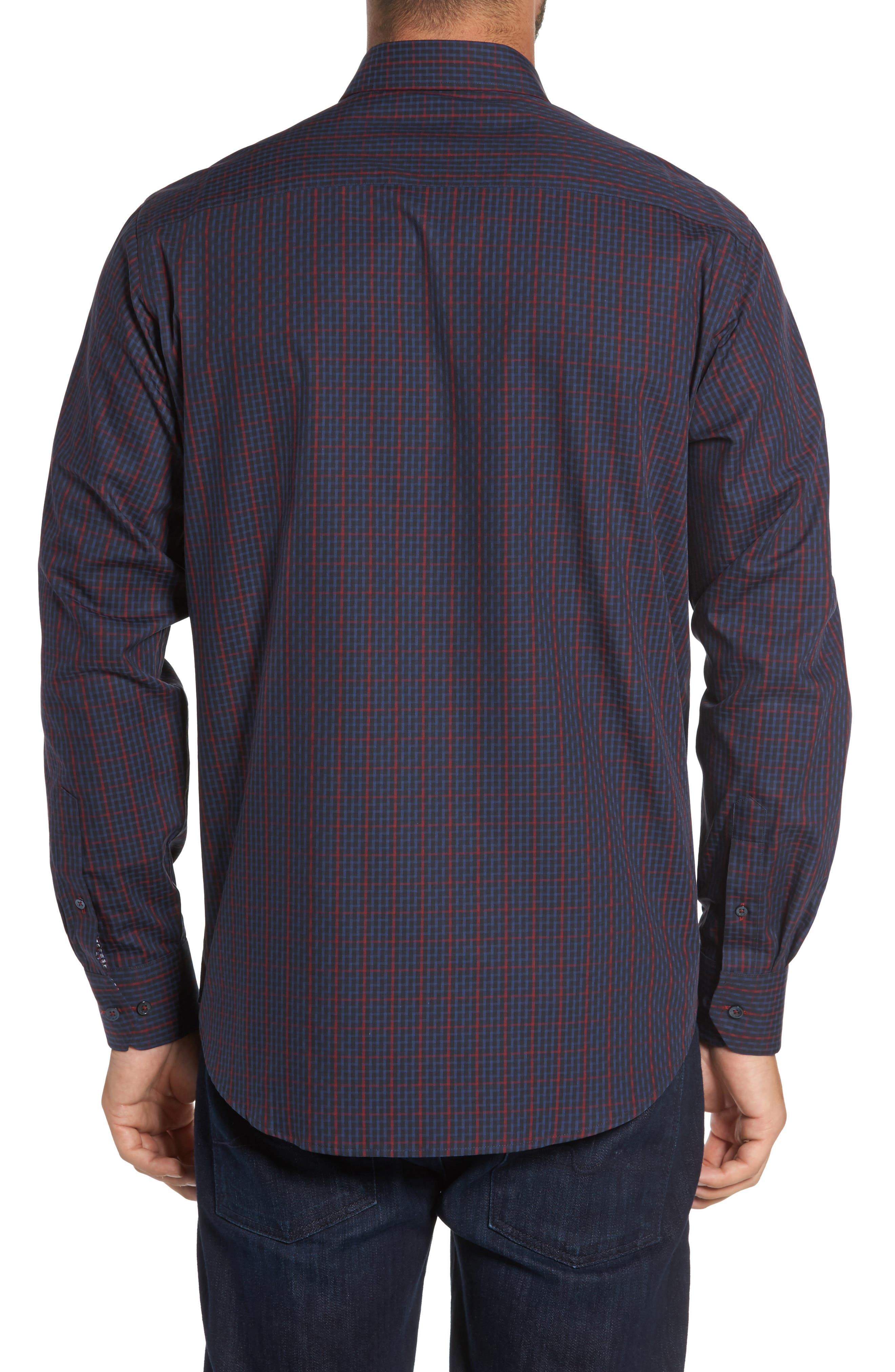 Classic Fit Windowpane Check Sport Shirt,                             Alternate thumbnail 2, color,                             Midnight