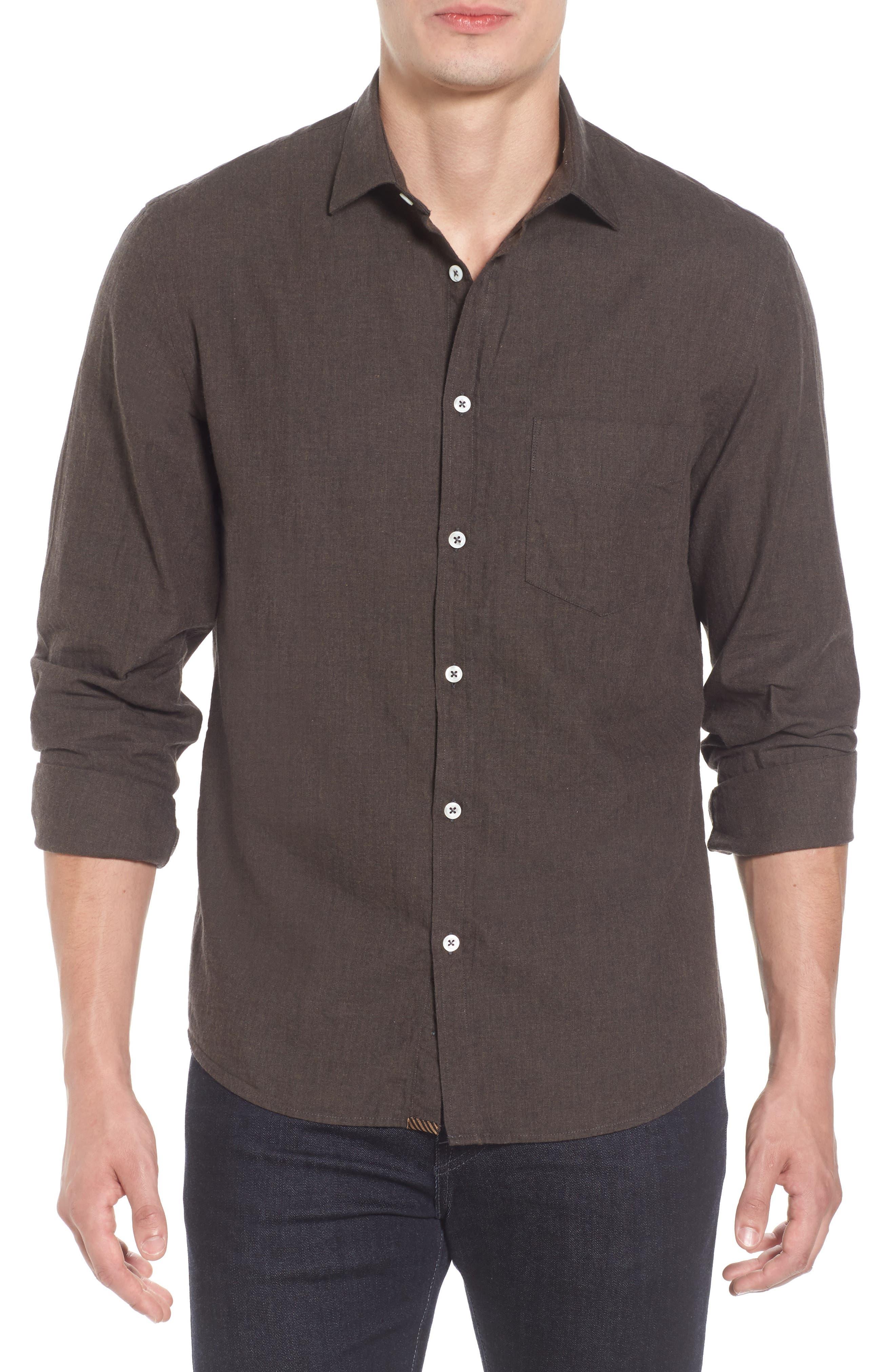 John T Standard Fit Herringbone Shirt,                         Main,                         color, Brown
