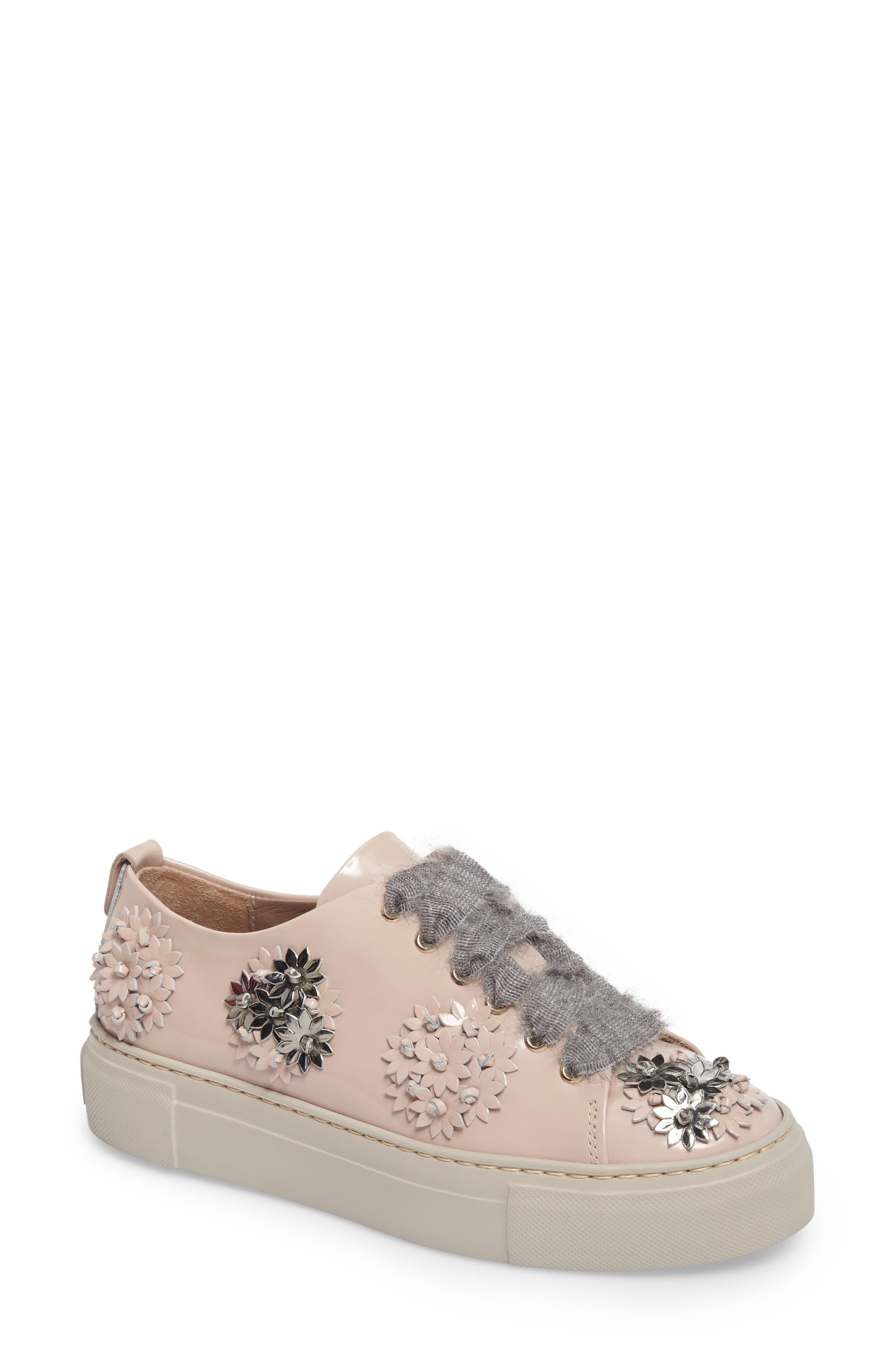 Flower Platform Sneaker,                         Main,                         color, Petal Leather