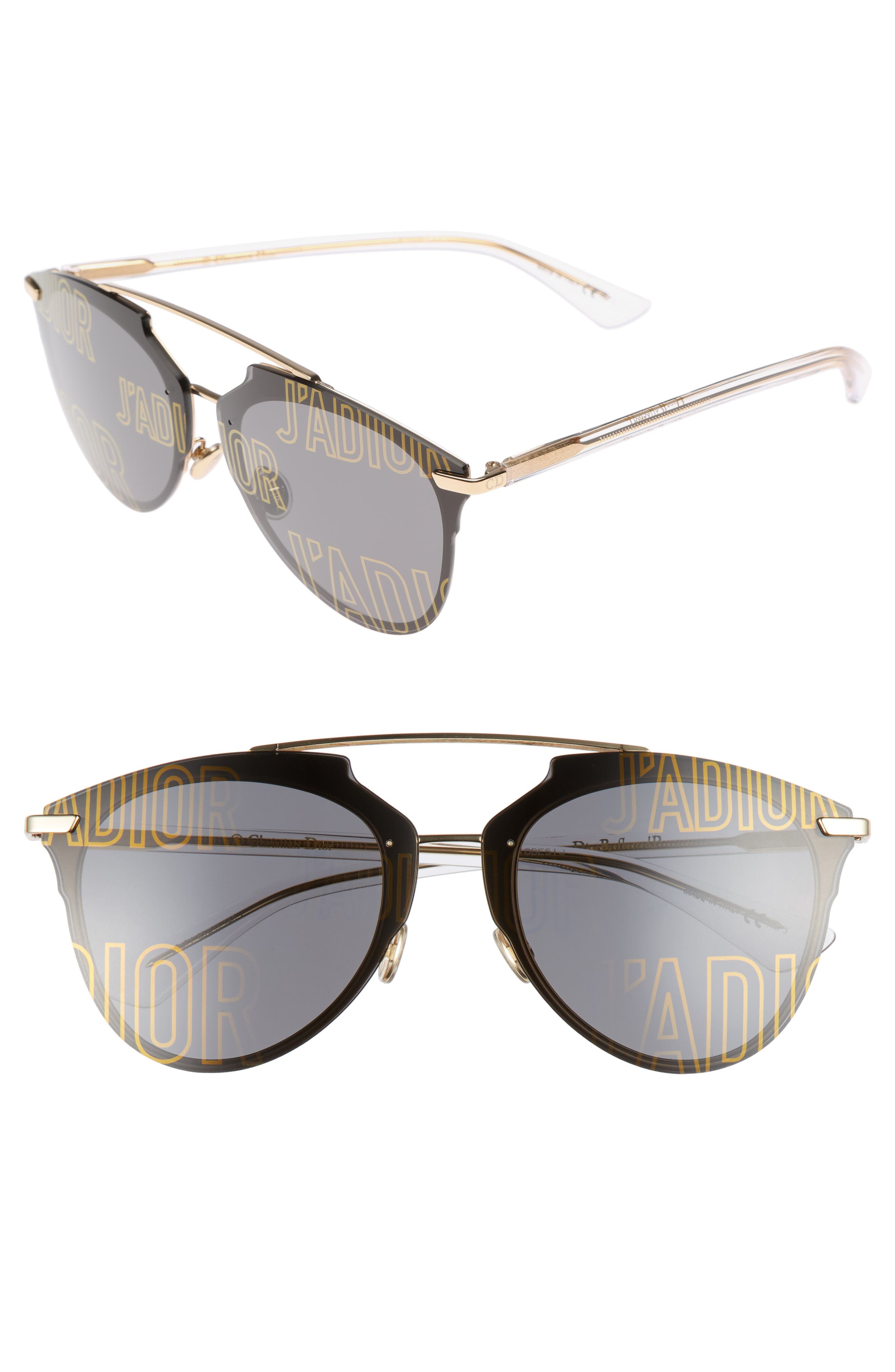 Reflected Prism 63mm Oversize Mirrored Brow Bar Sunglasses,                         Main,                         color, Rose Gold/ Crystal