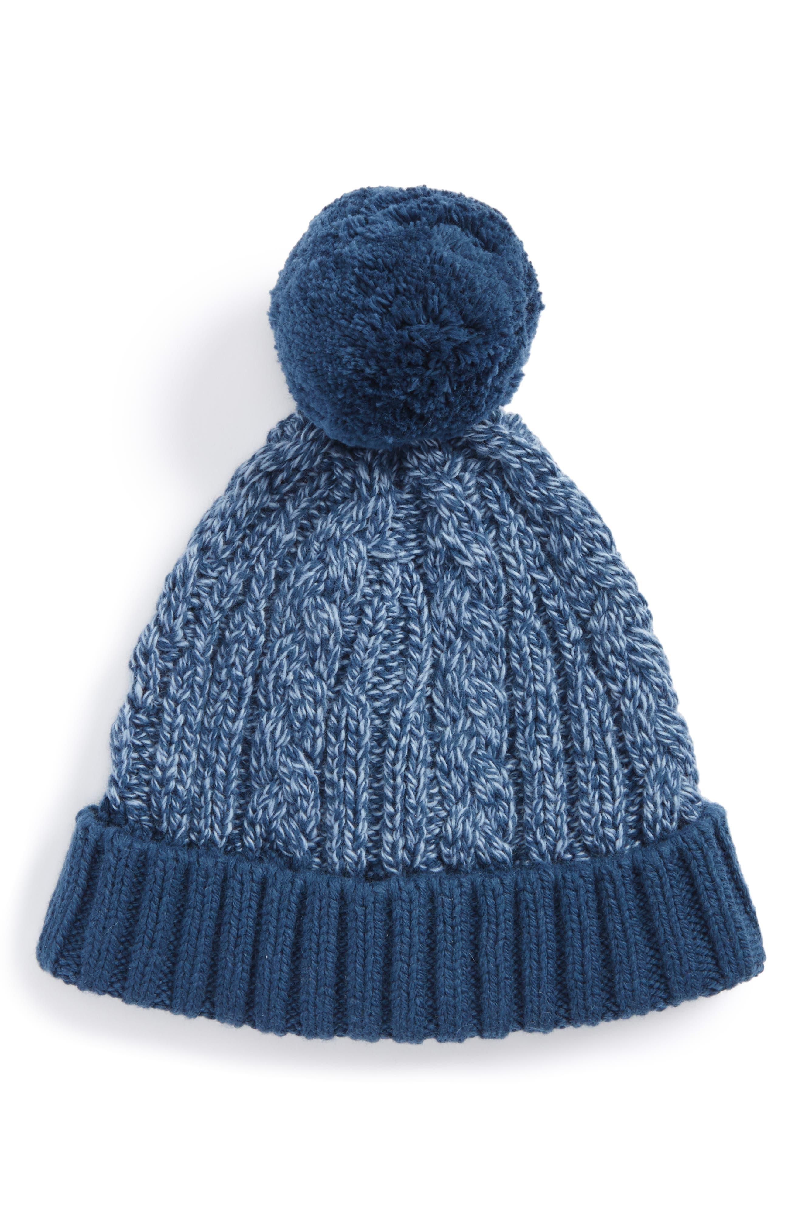 Cable Knit Pompom Hat,                             Main thumbnail 1, color,                             Navy Denim- Blue