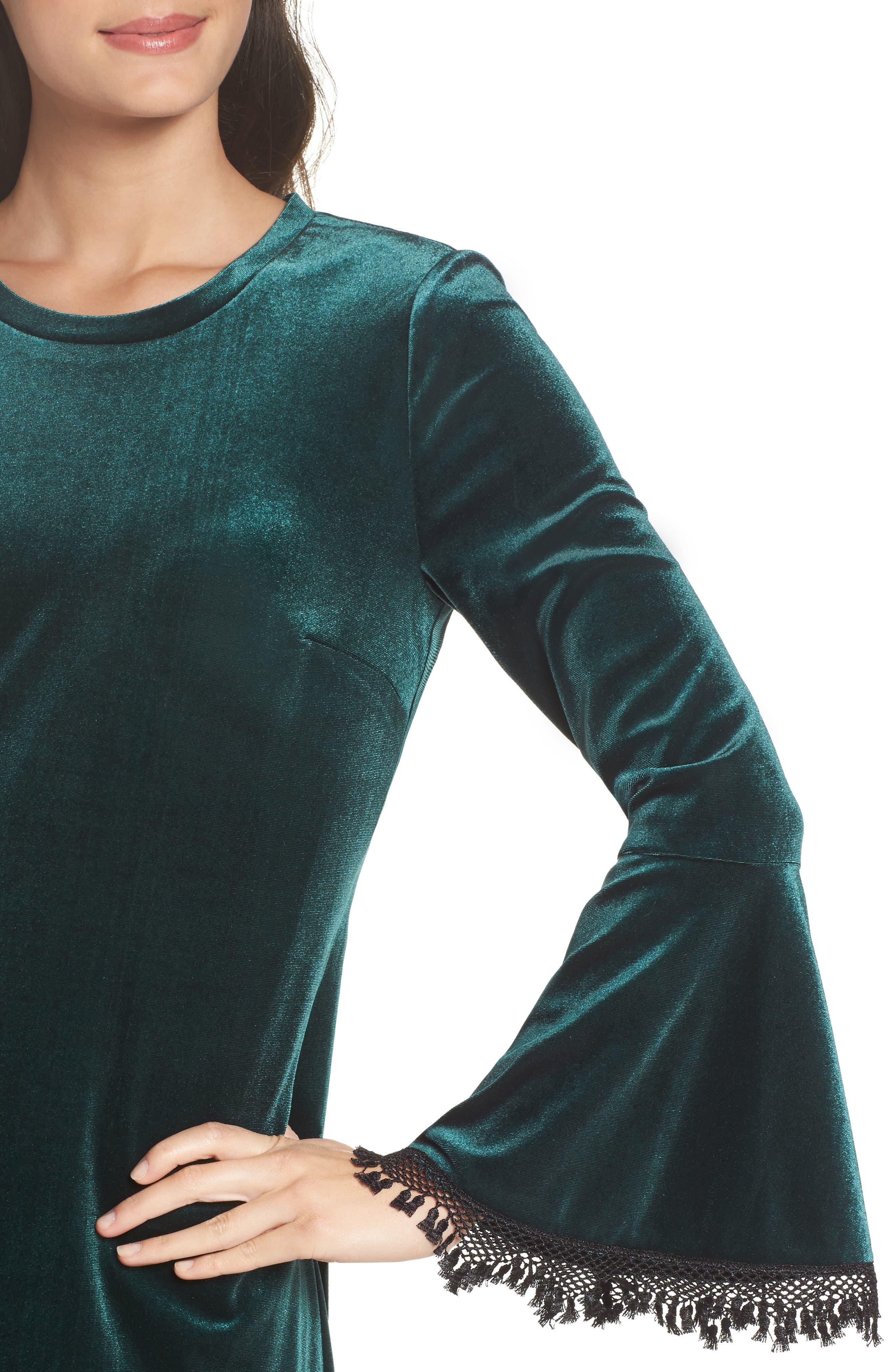 Hallie Bell Sleeve Velvet Dress,                             Alternate thumbnail 4, color,                             Bottle Green