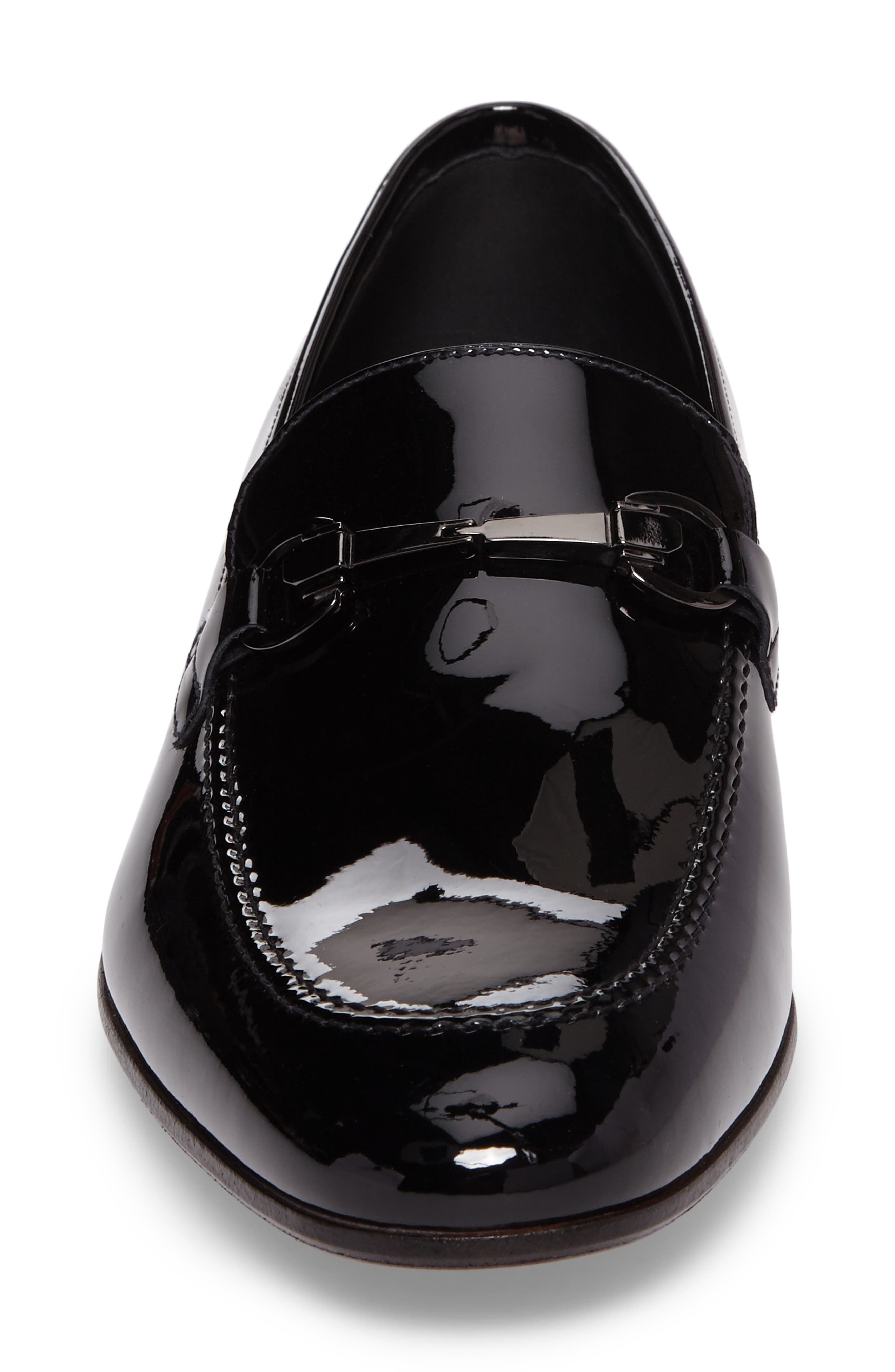Brianza Bit Loafer,                             Alternate thumbnail 6, color,                             Black Patent Leather