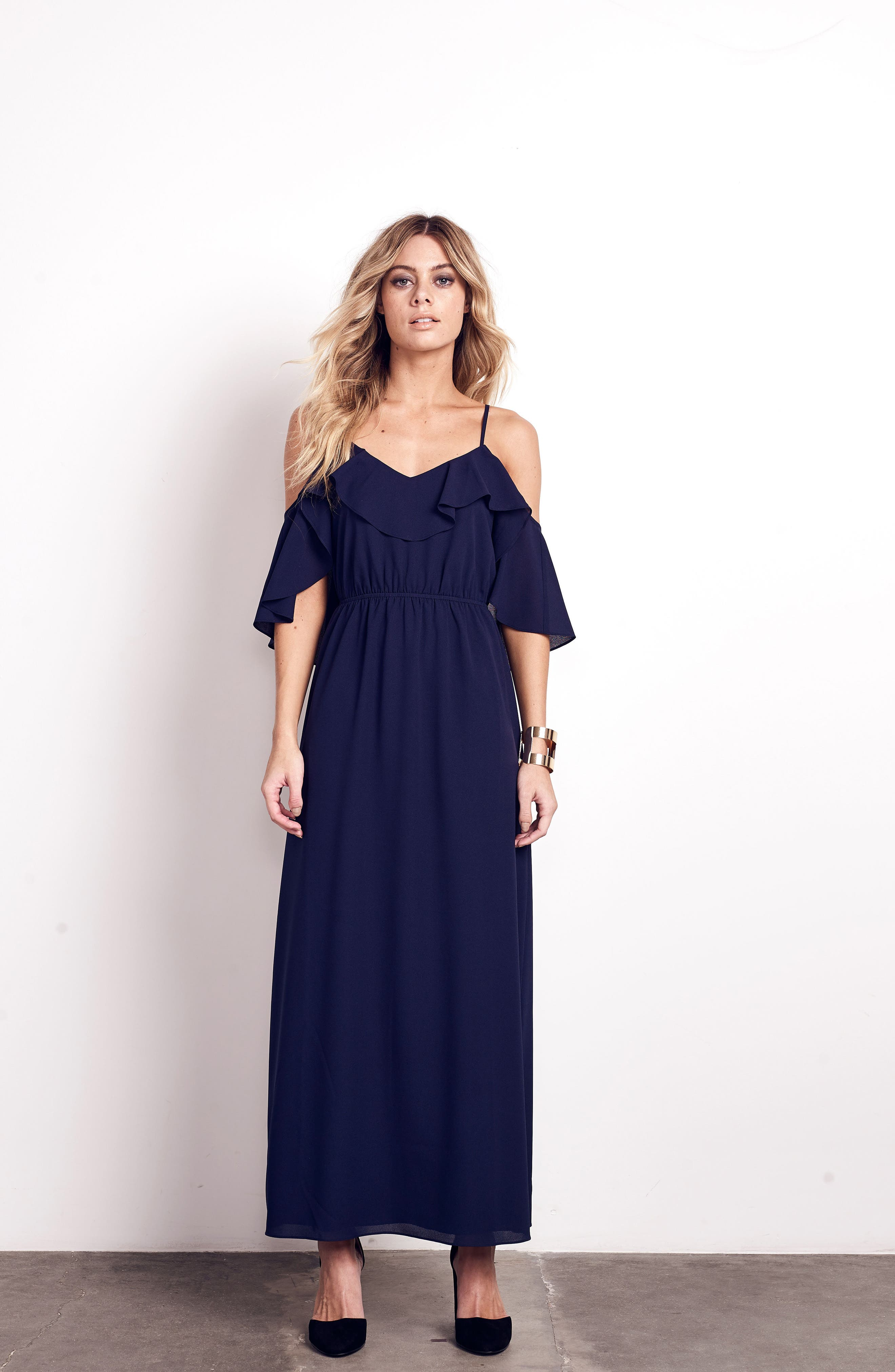 Love Story Cold Shoulder Maxi Dress,                             Alternate thumbnail 2, color,                             Navy
