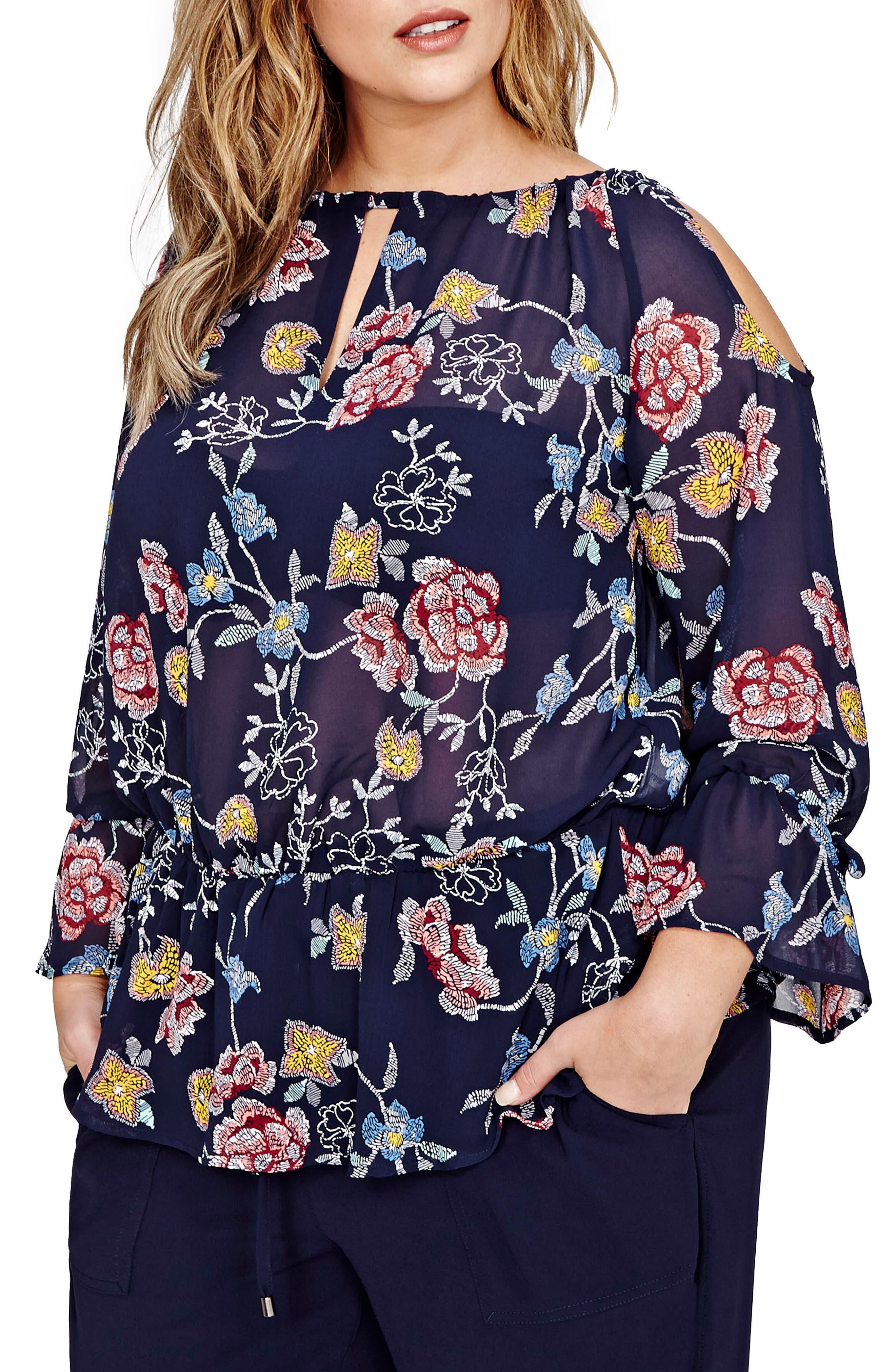 Cold Shoulder Floral Blouse,                             Main thumbnail 1, color,                             Eclipse Floral