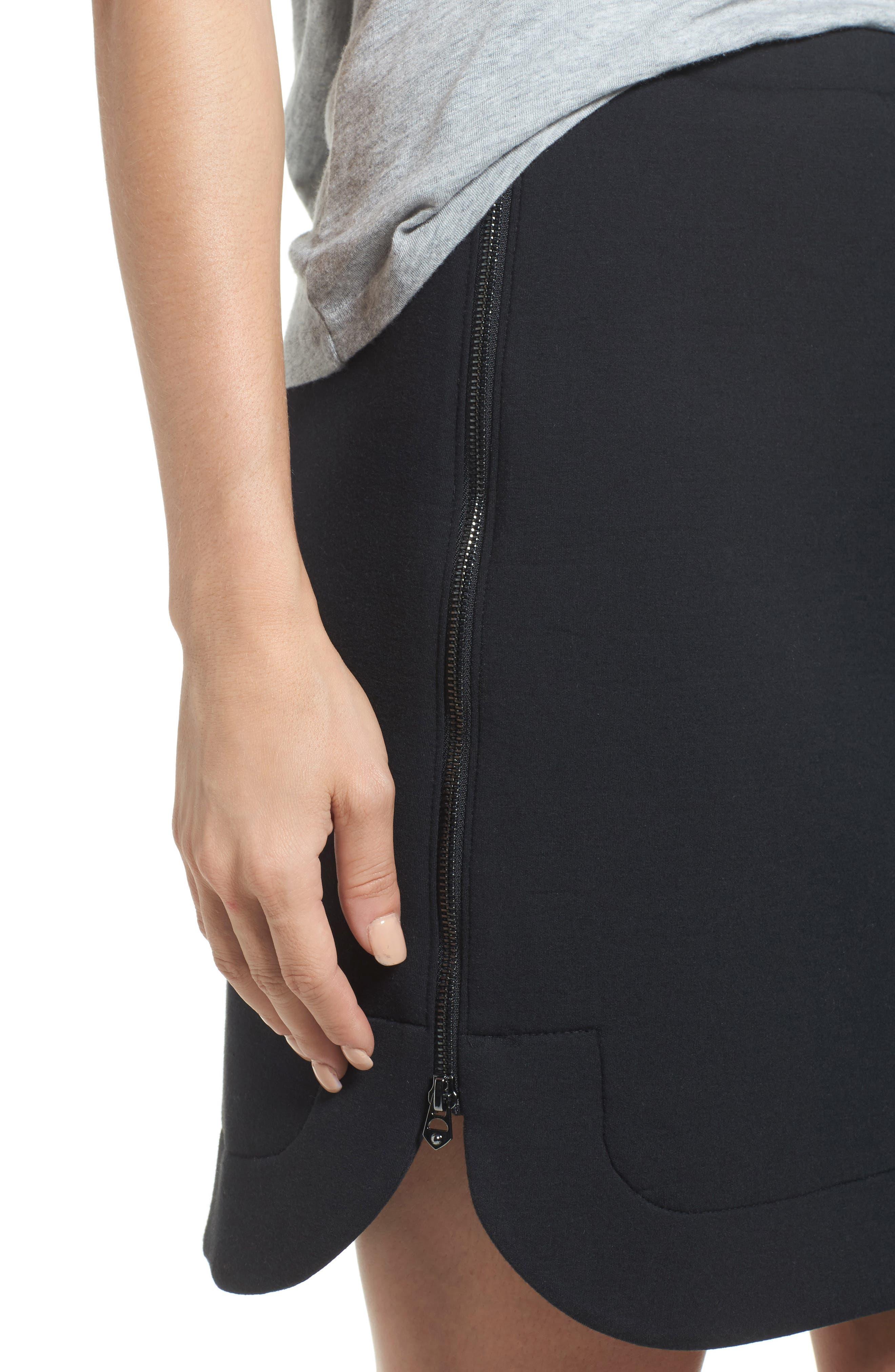Side Zip Neoprene Skirt,                             Alternate thumbnail 4, color,                             Black
