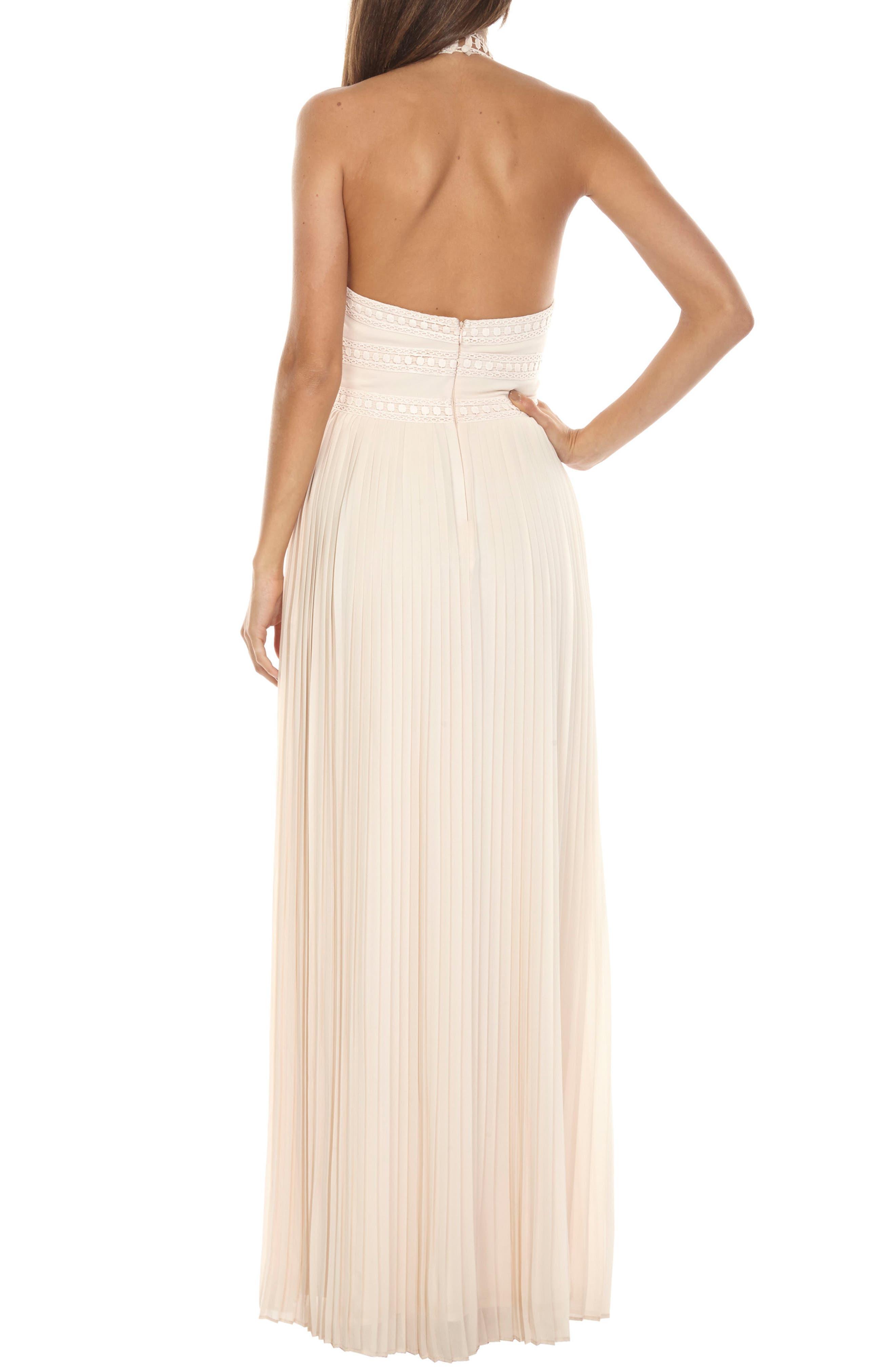 Corinne Lace Trim Halter Maxi Dress,                             Alternate thumbnail 2, color,                             Nude