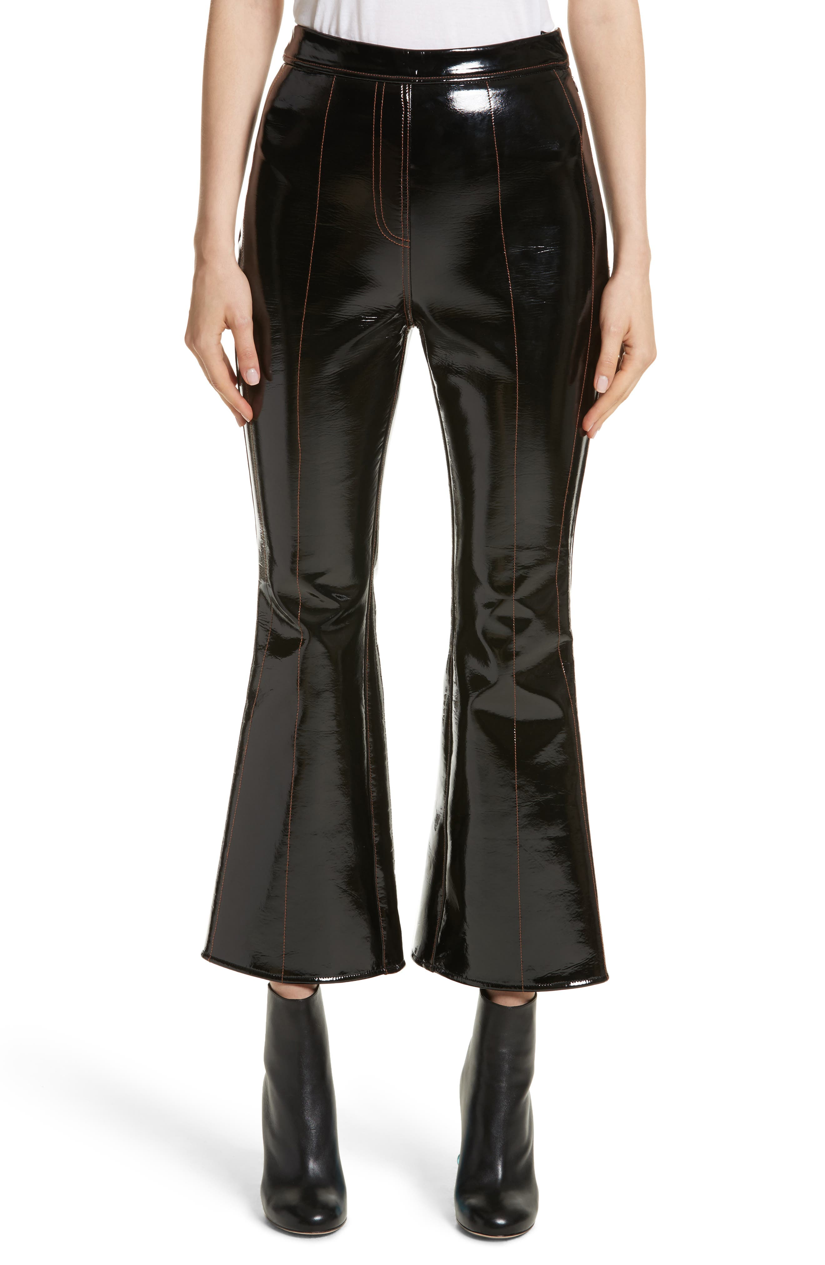 Outlaw Topstitched Crop Flare PVC Pants,                             Main thumbnail 1, color,                             Black