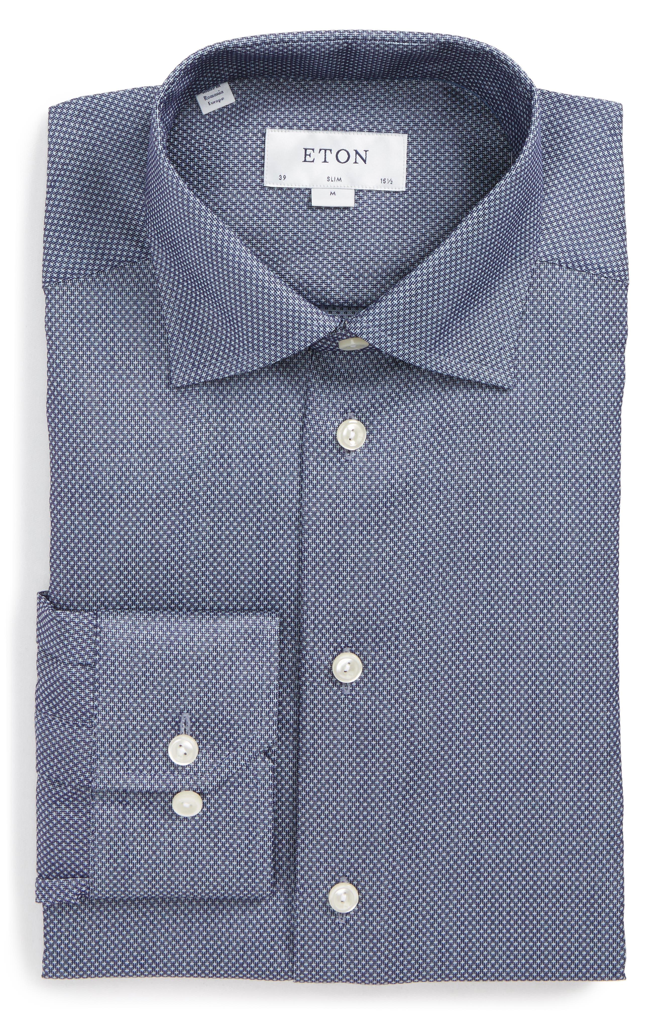 Slim Fit Microprint Dress Shirt,                             Main thumbnail 1, color,                             Navy