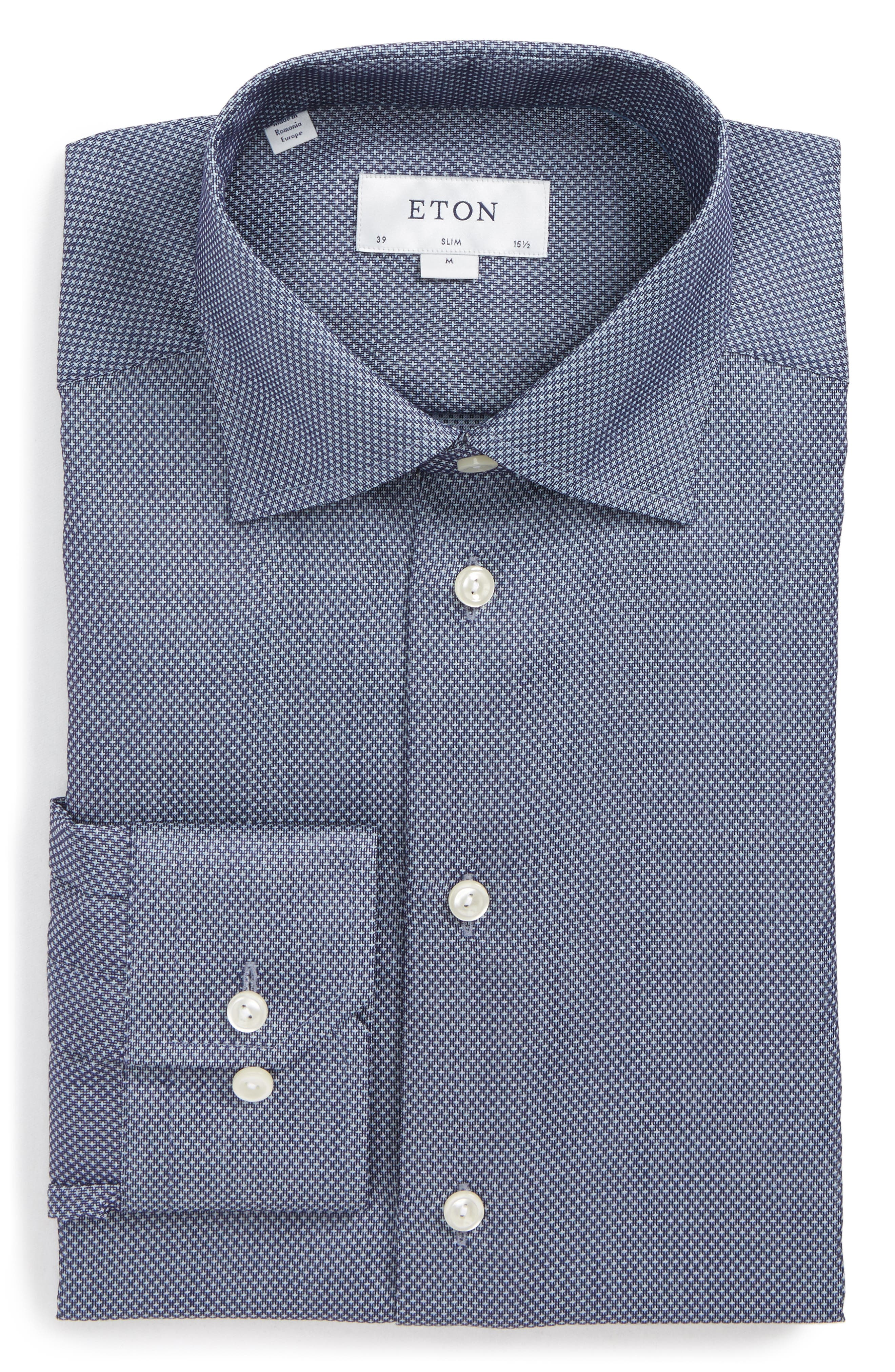 Eton Slim Fit Microprint Dress Shirt