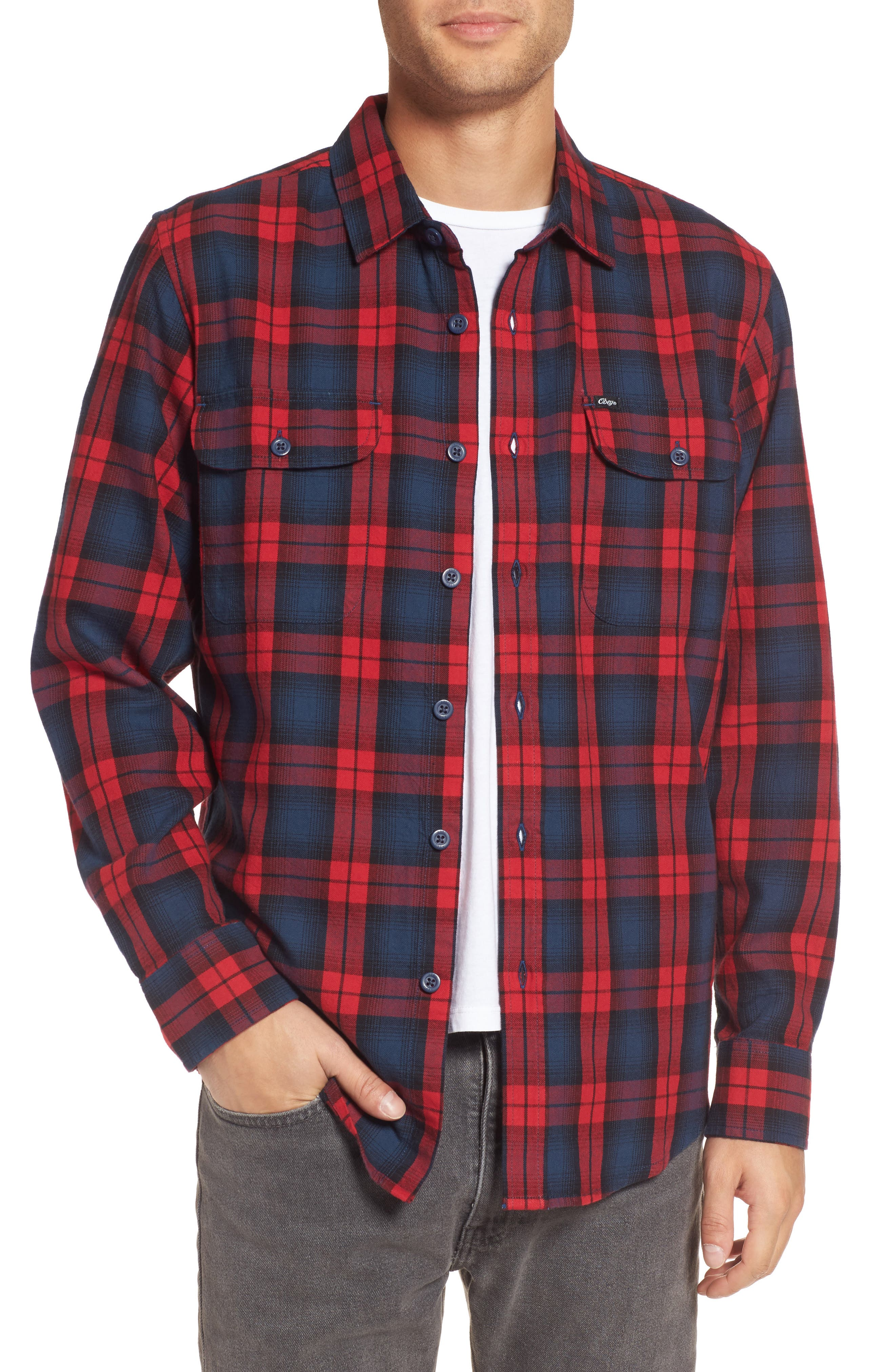 Main Image - Obey Norwich Plaid Woven Shirt