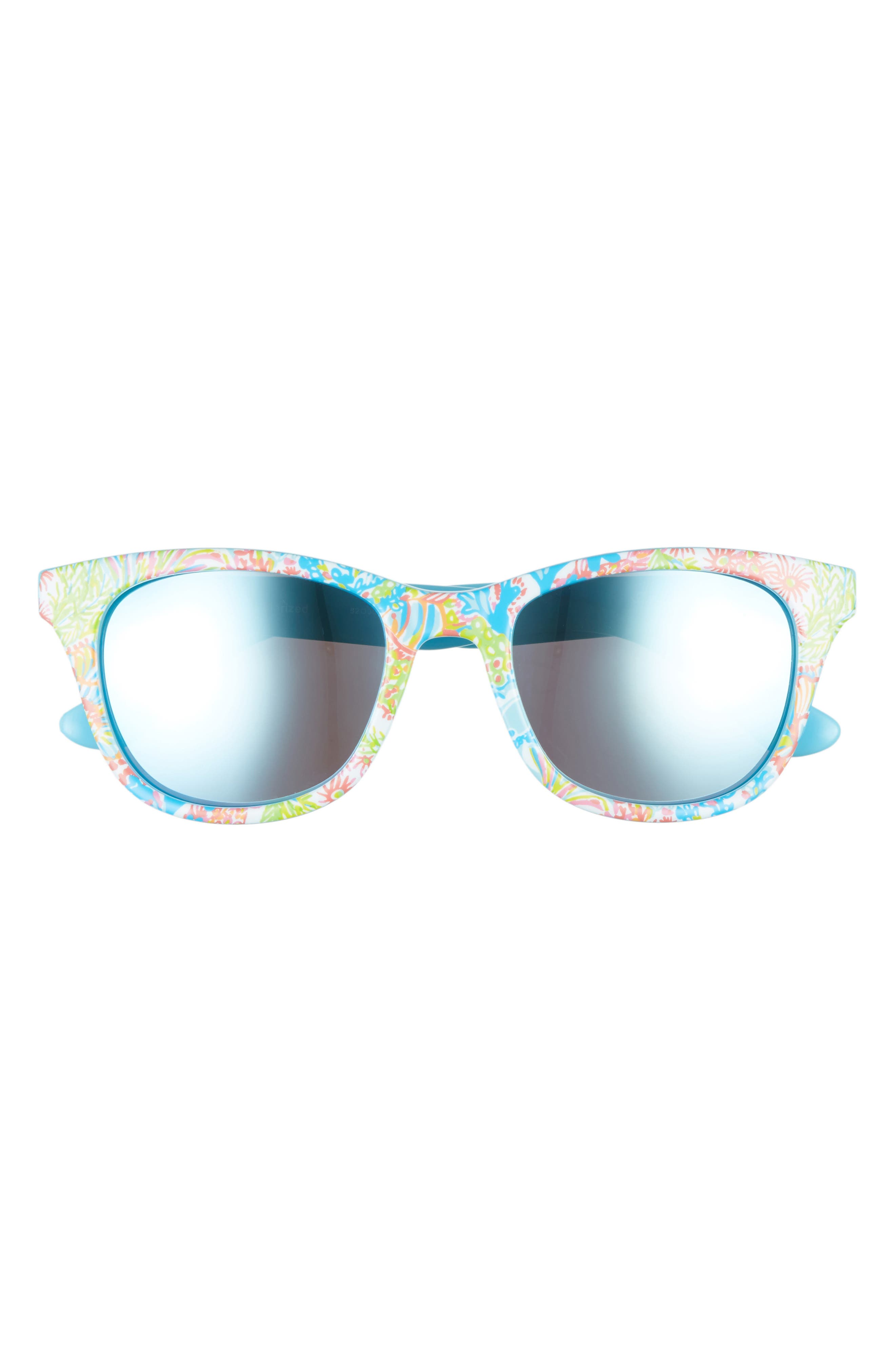 Maddie 52mm Polarized Mirrored Sunglasses,                             Alternate thumbnail 3, color,                             Blue