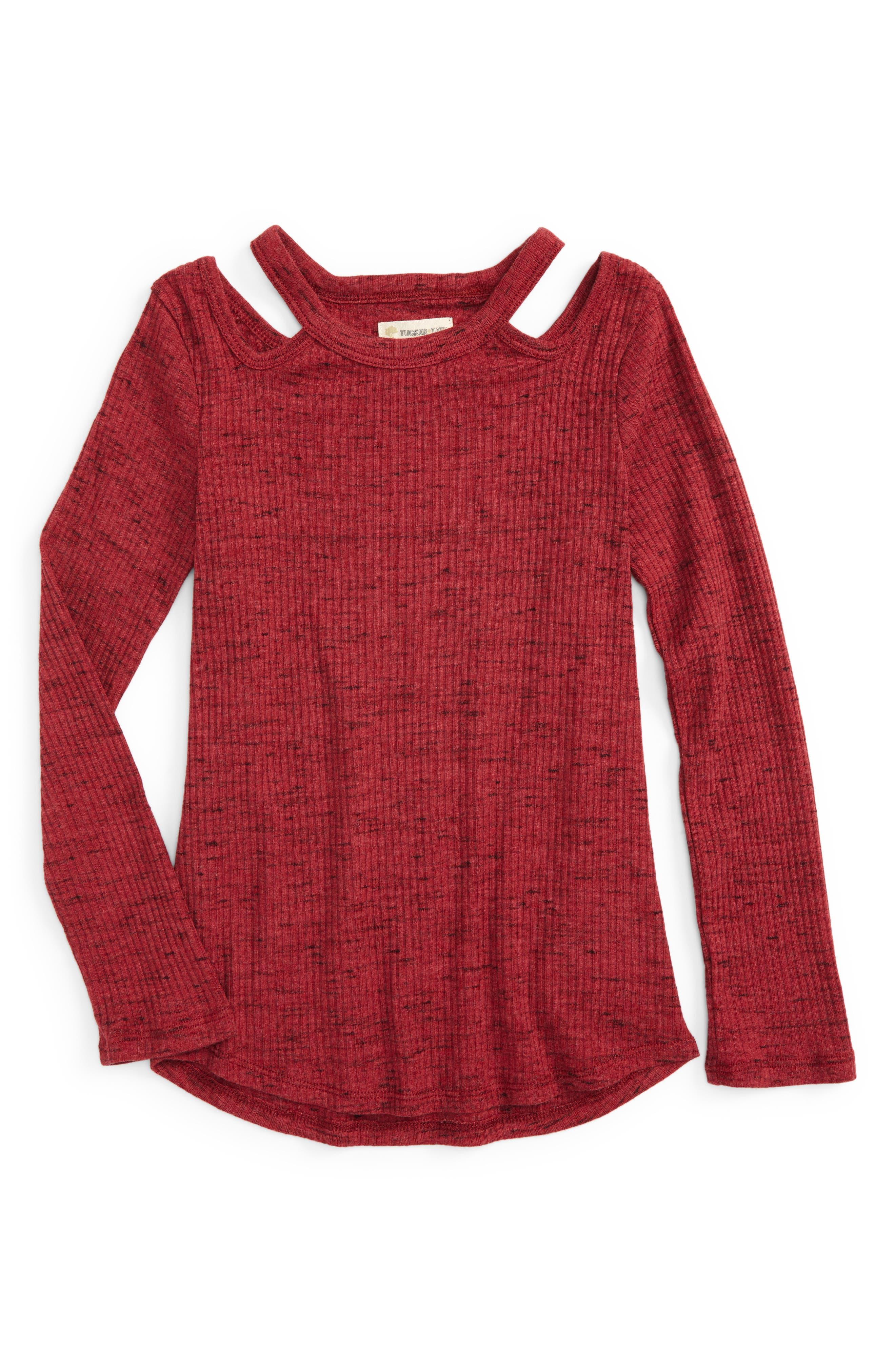 Cutout Rib Knit Tee,                         Main,                         color, Red Tibetan Spacedye