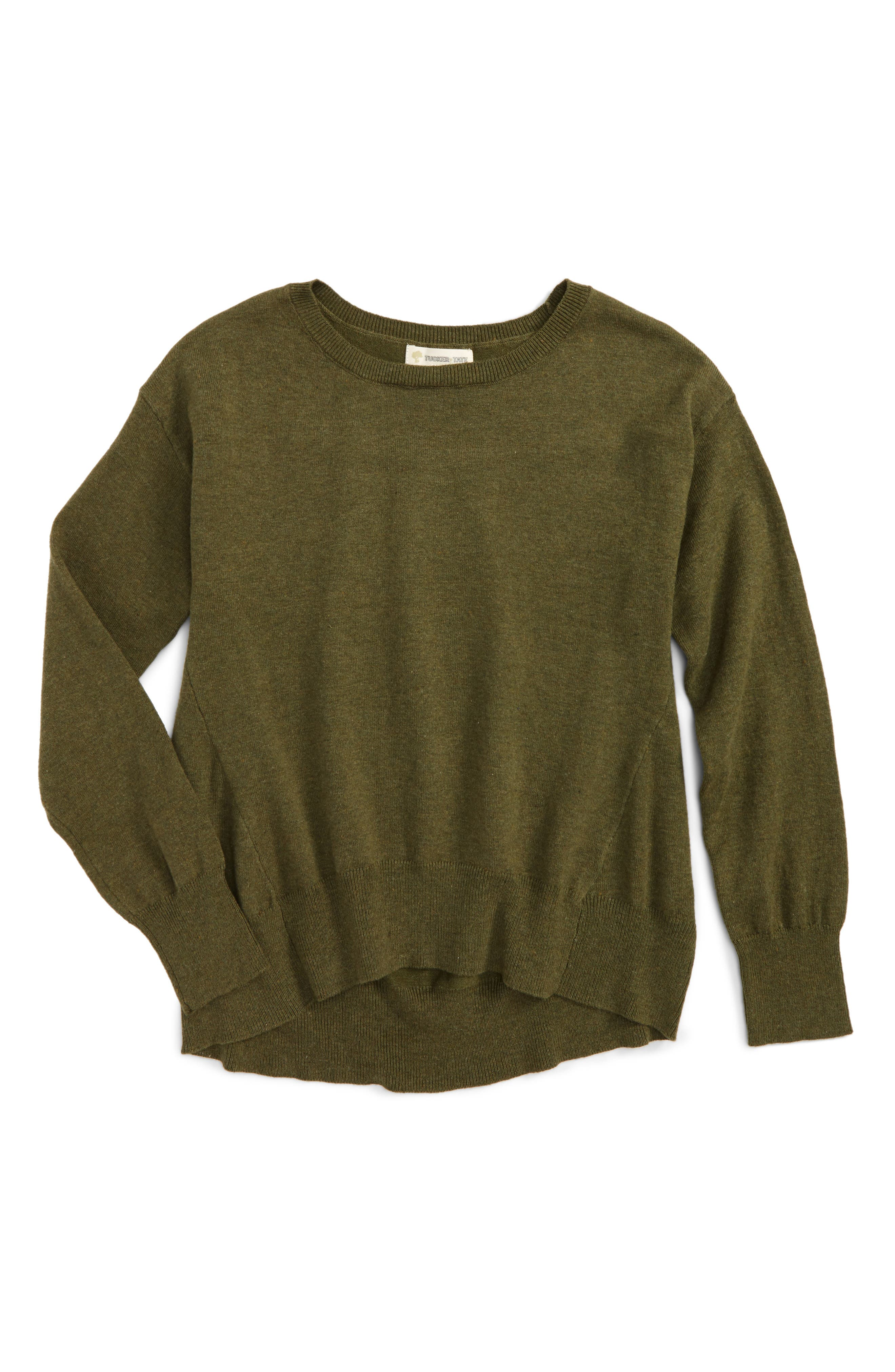 Easy Seam Knit Sweater,                         Main,                         color, Olive Burnt Heather