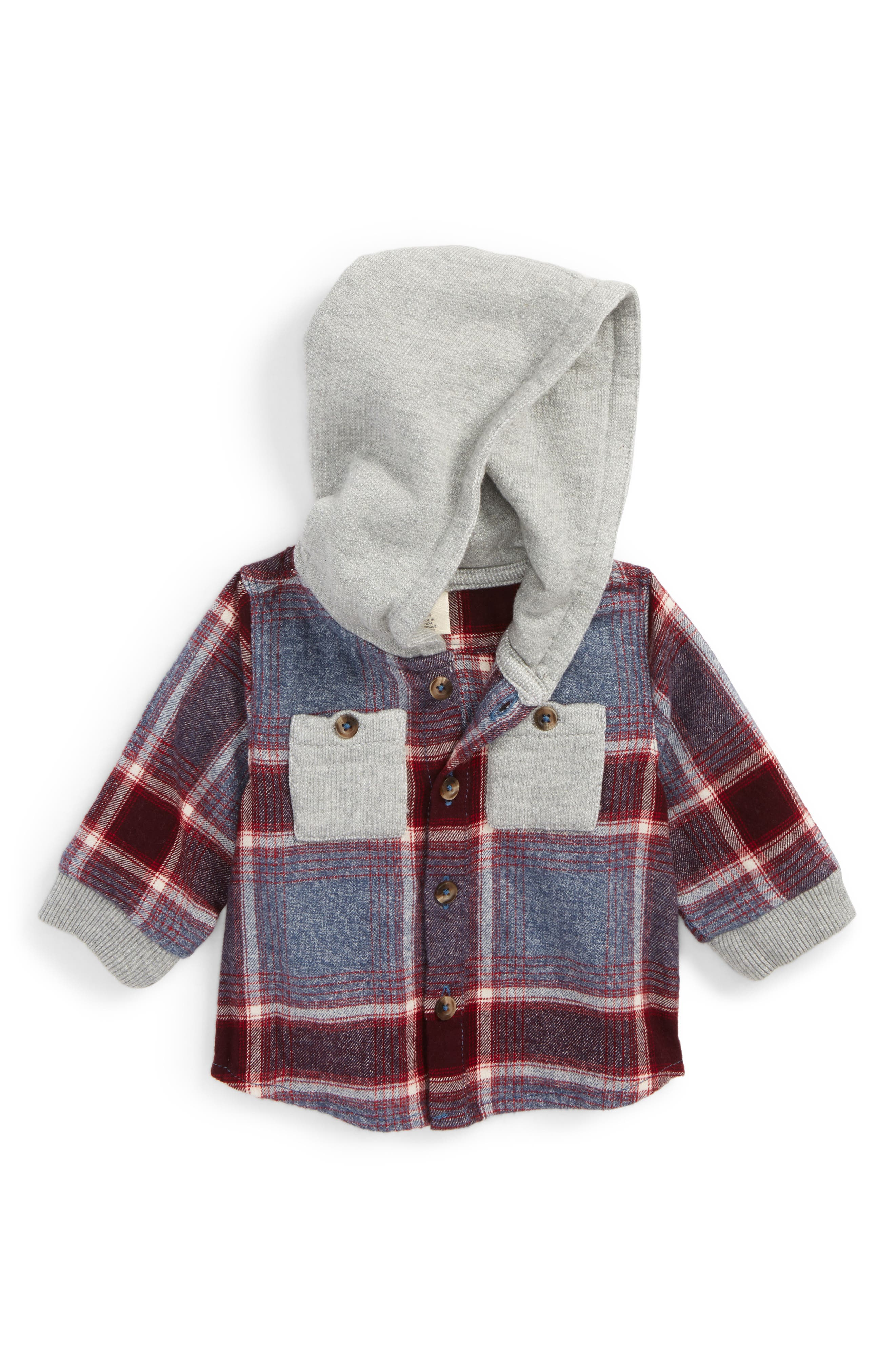 Hooded Flannel Shirt,                             Main thumbnail 1, color,                             Navy Denim Multi Plaid