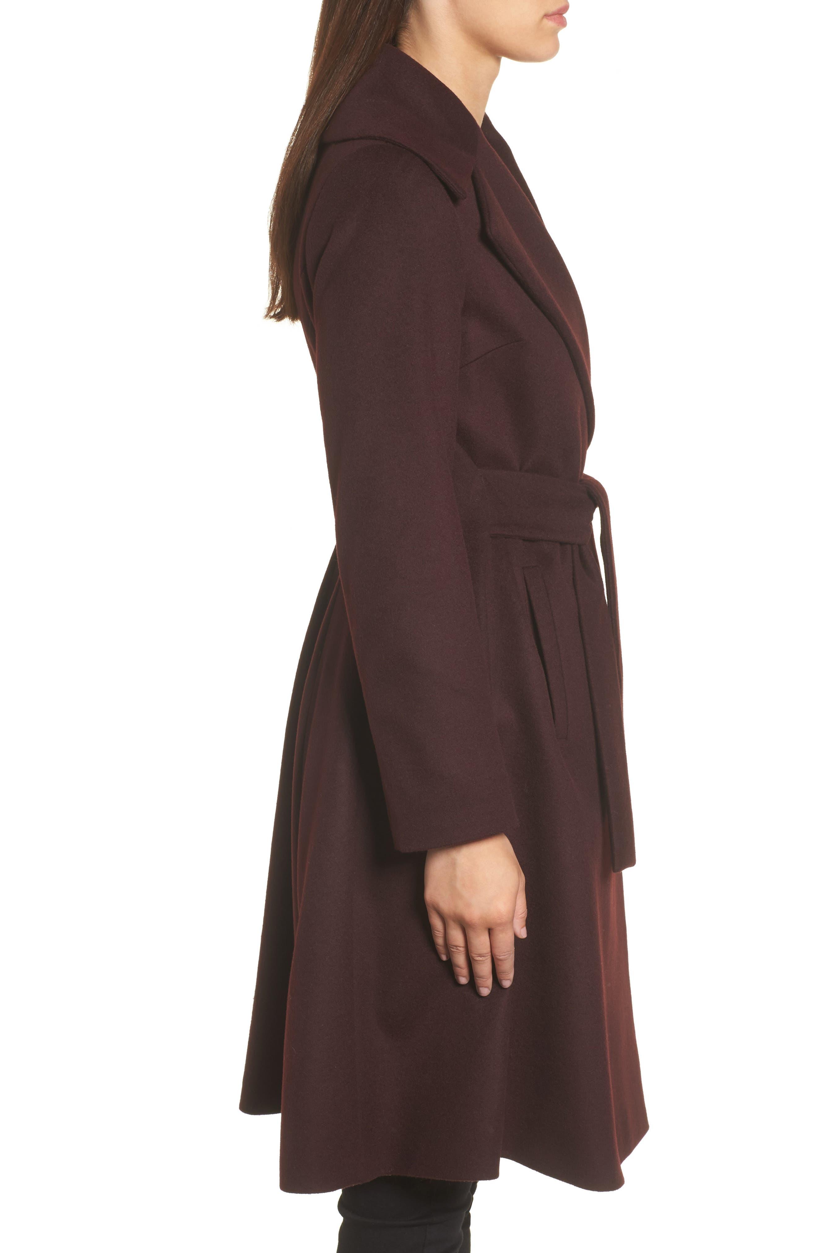 Luna Wool Blend Wrap Coat,                             Alternate thumbnail 4, color,                             Wine