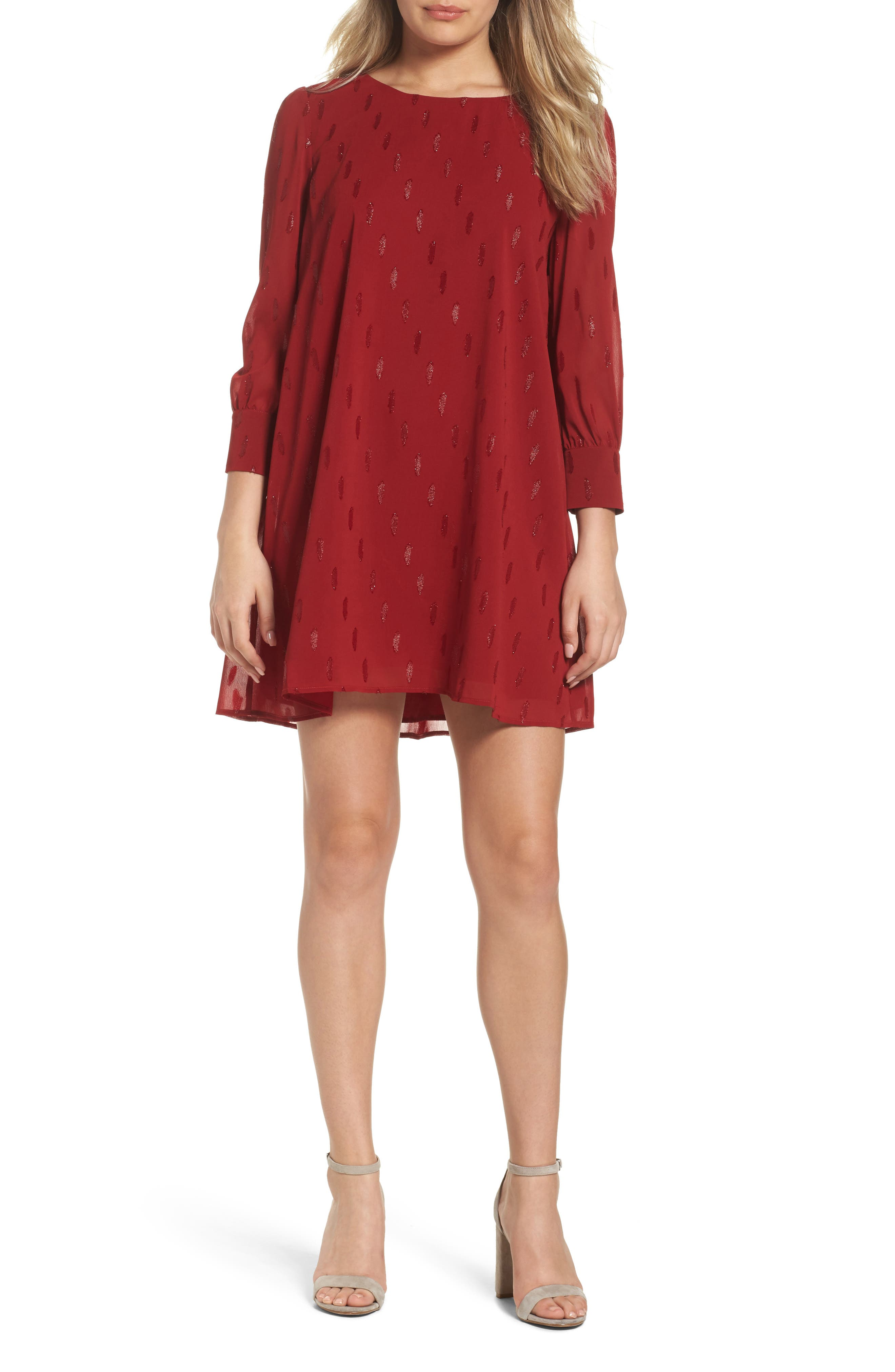 Dayna Shift Dress,                         Main,                         color, Lipstick Red