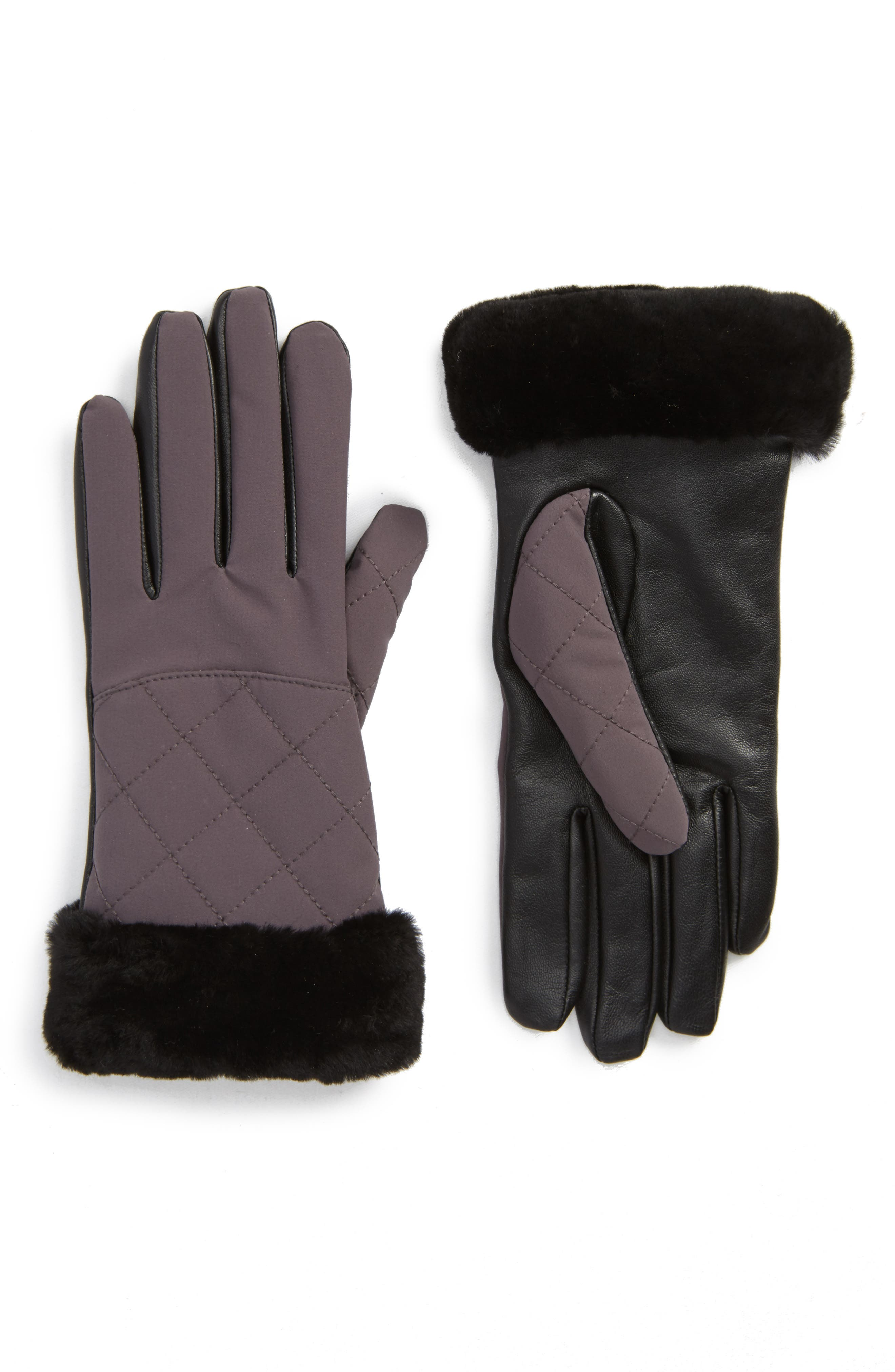 UGG<sup>®</sup> Water Resistant Touchscreen Quilted Nylon, Leather & Genuine Shearling Gloves,                         Main,                         color, Grey