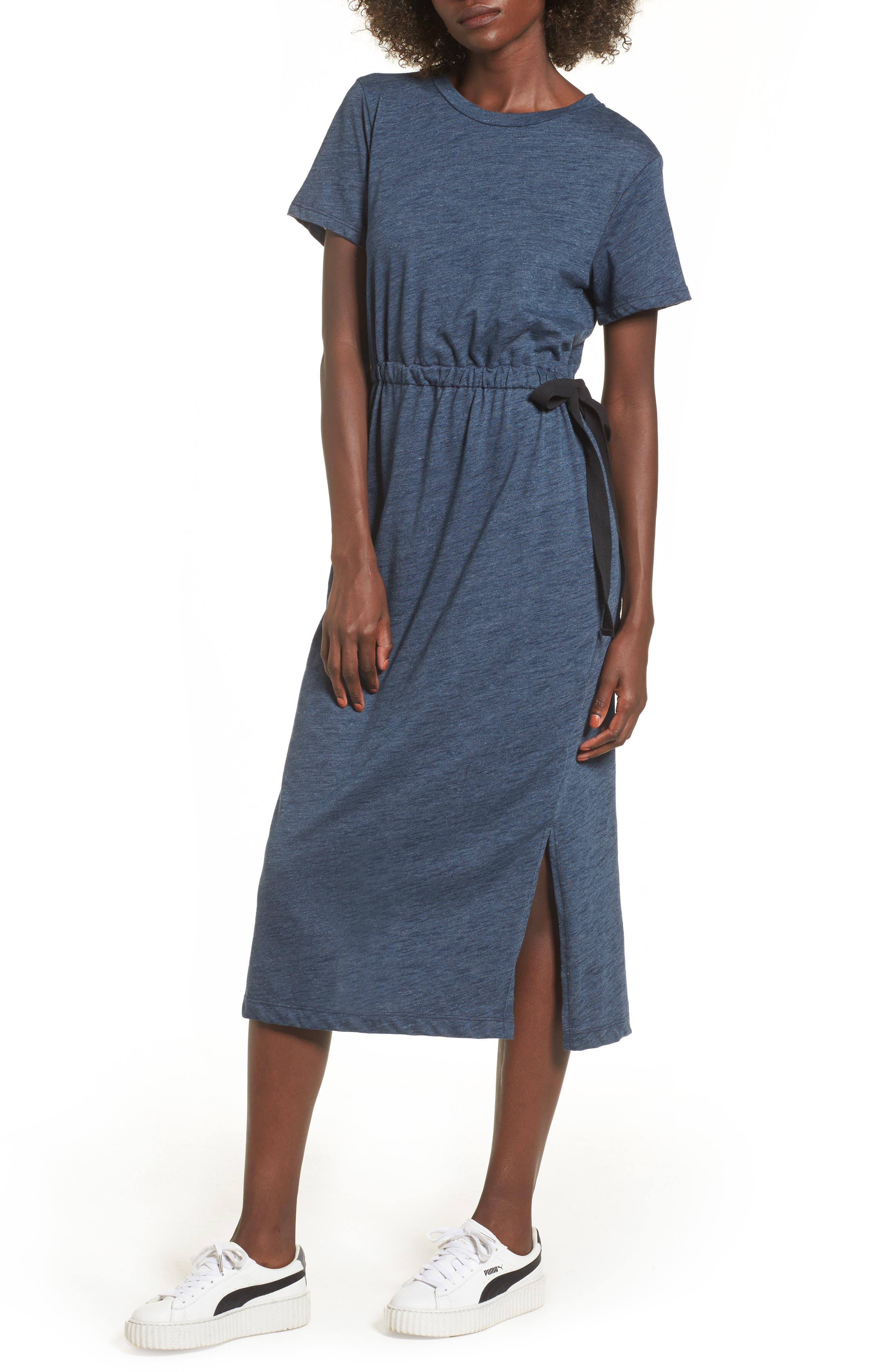 Side Tie Midi T-Shirt Dress,                             Main thumbnail 1, color,                             Navy Heather