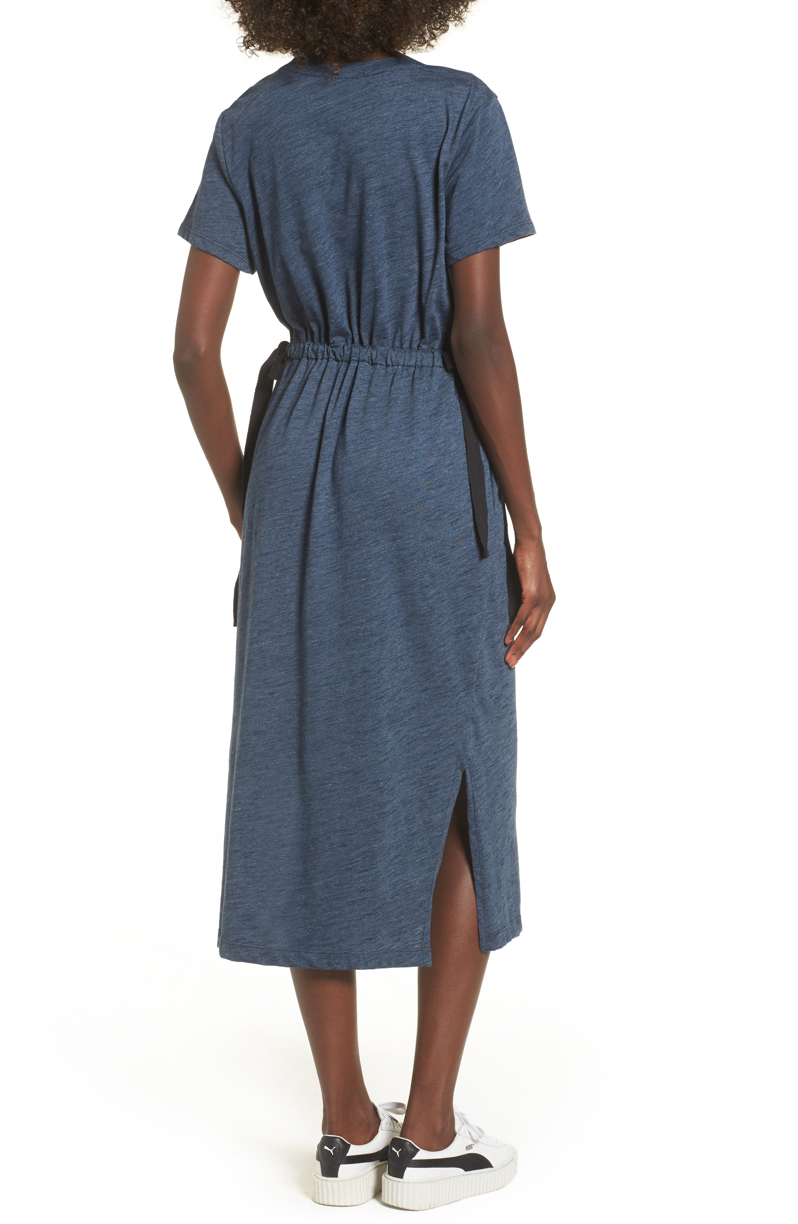 Side Tie Midi T-Shirt Dress,                             Alternate thumbnail 2, color,                             Navy Heather