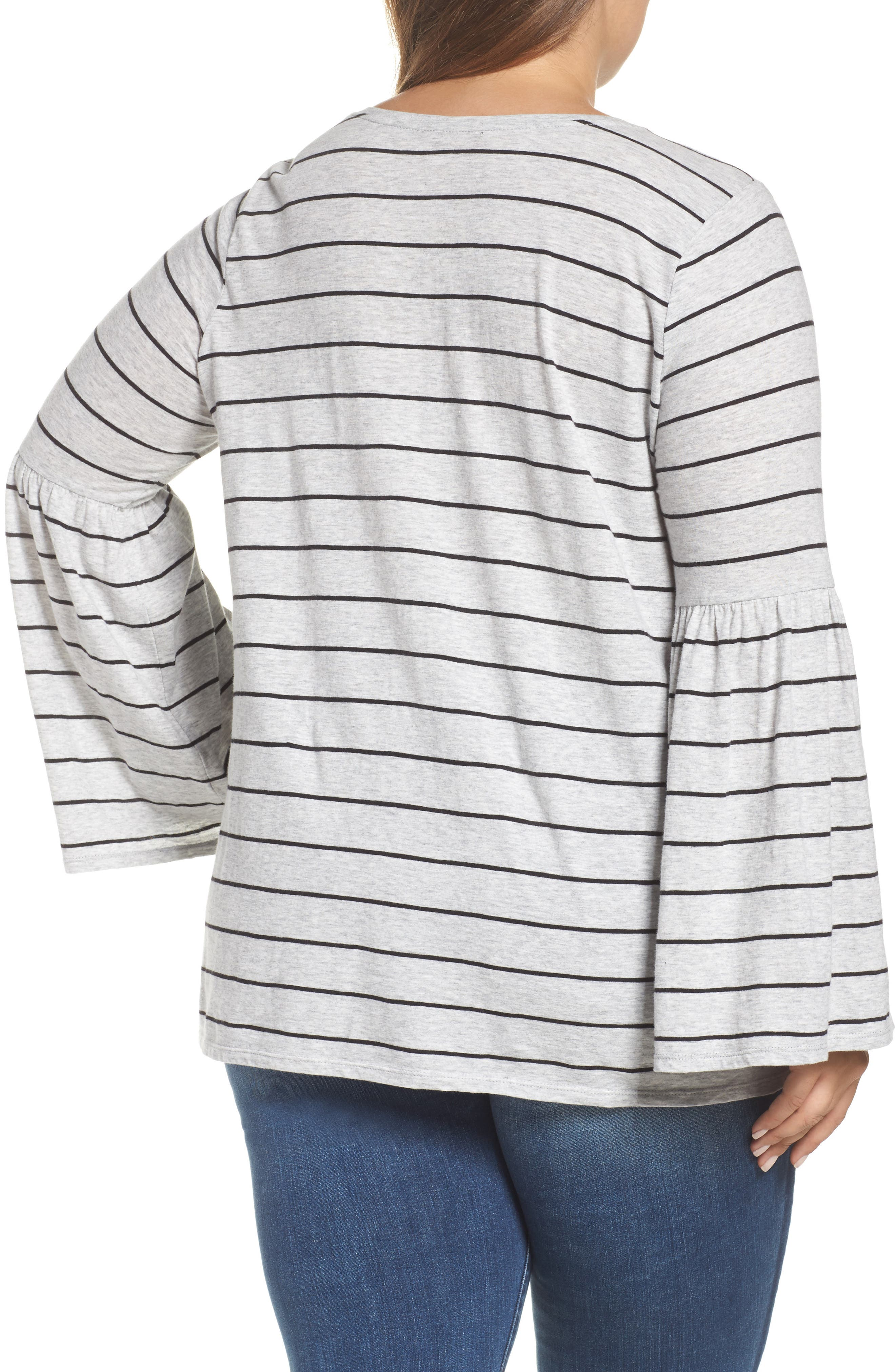 Alternate Image 2  - Two by Vince Camuto Nova Stripe Bell Sleeve Top (Plus Size)
