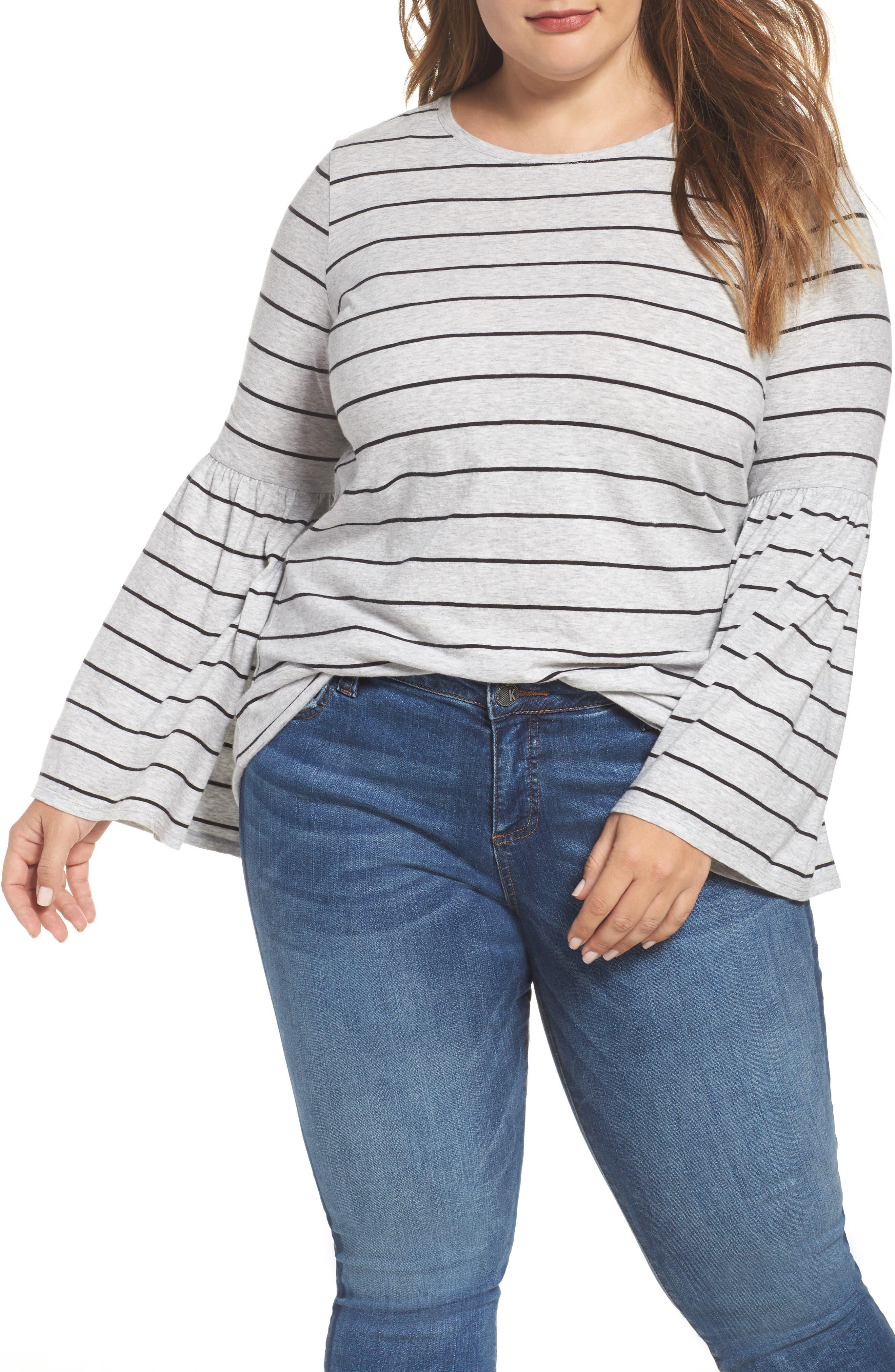 Nova Stripe Bell Sleeve Top,                         Main,                         color, Smoke Heather