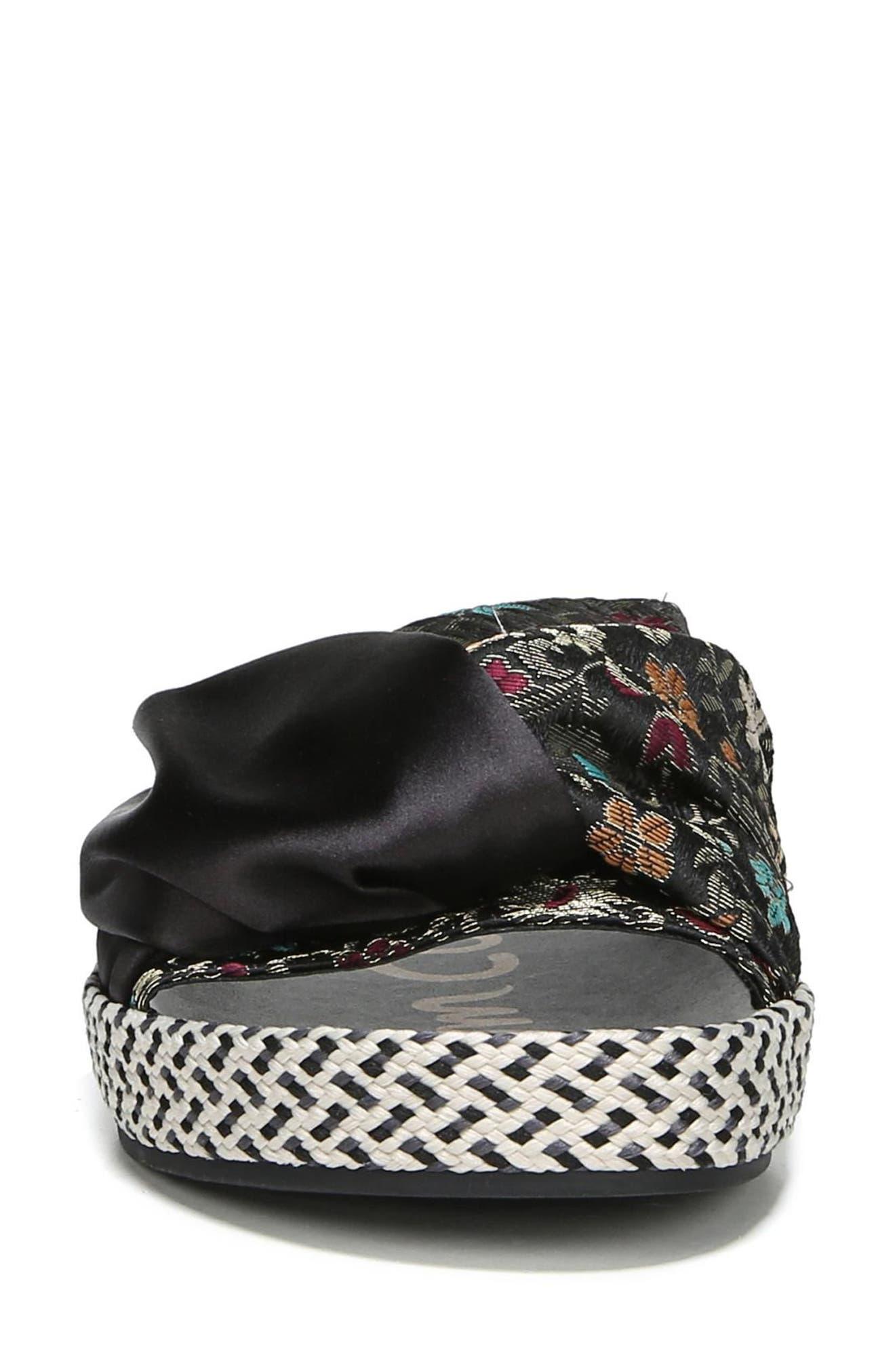 Bodie Slide Sandal,                             Alternate thumbnail 4, color,                             Black Floral Brocade