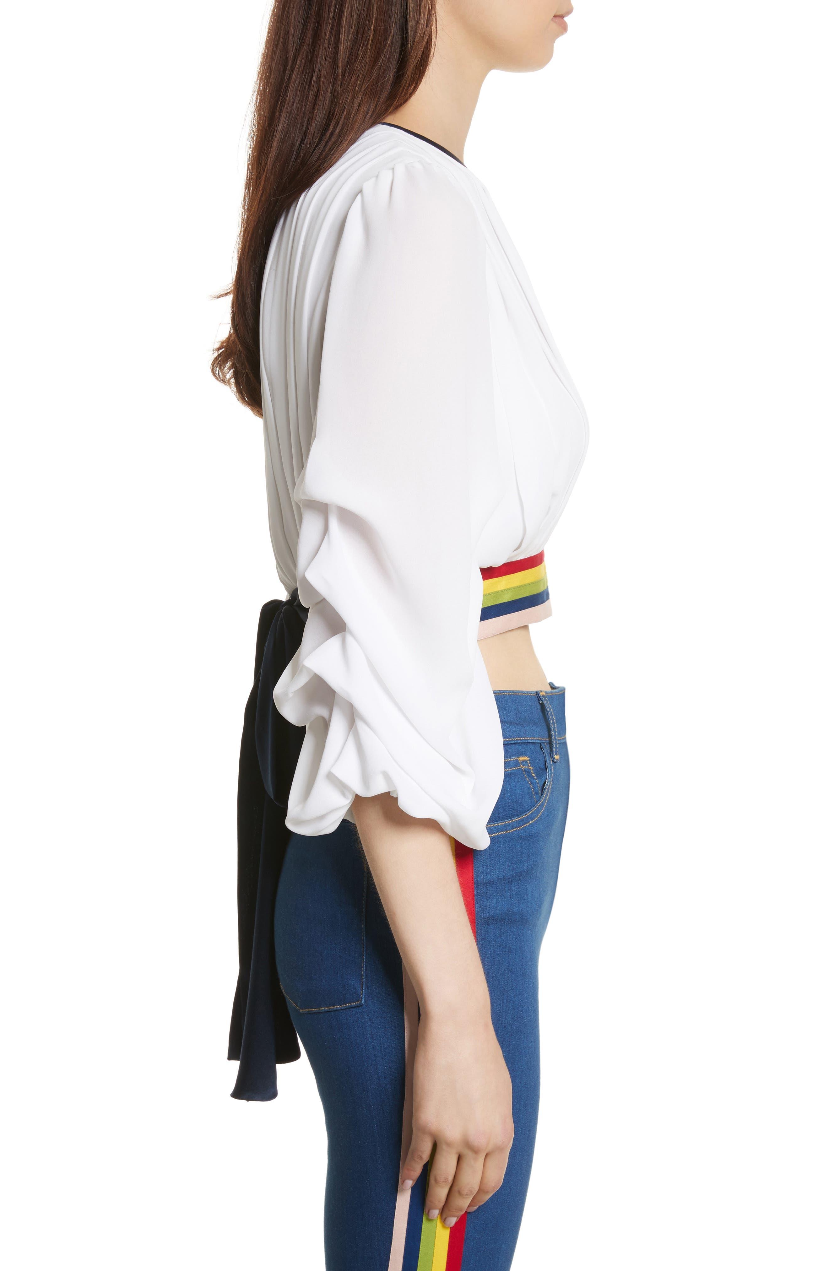 Dakota Tack Sleeve Top,                             Alternate thumbnail 3, color,                             White/ Multi