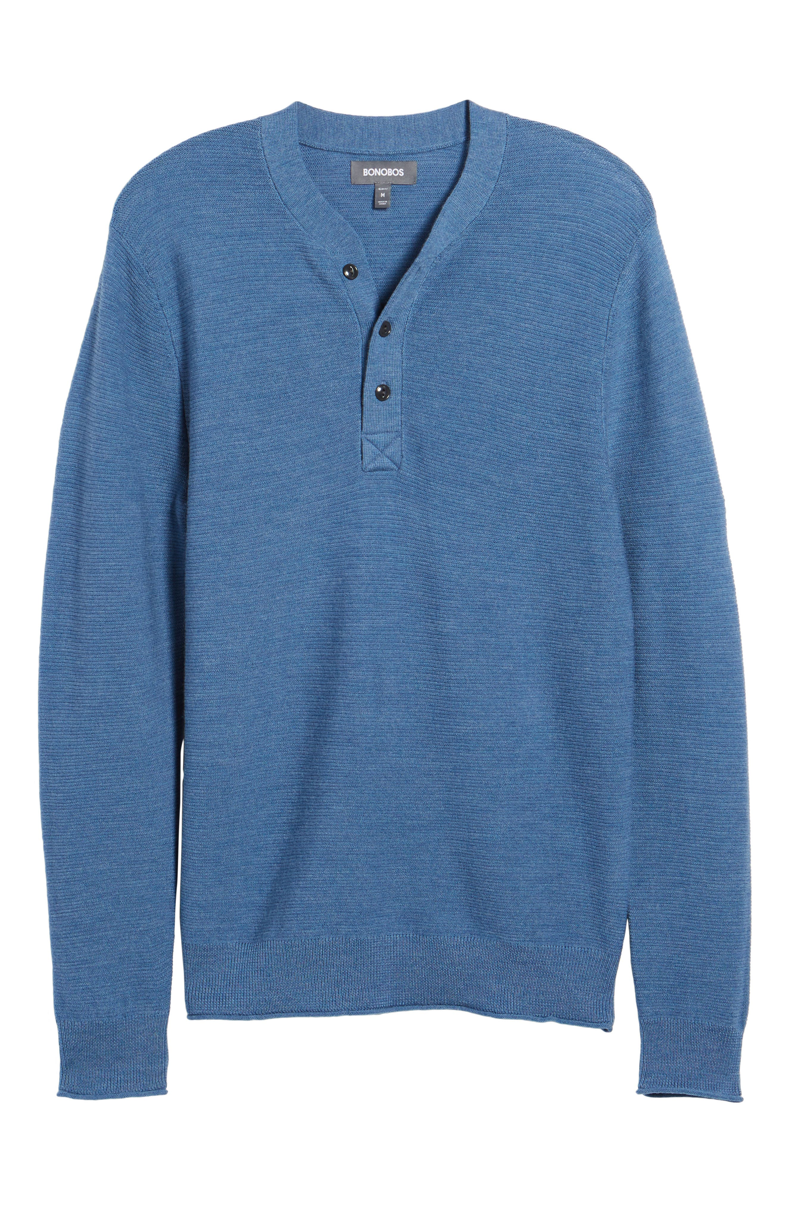 Slim Fit Merino Long Sleeve Henley Sweater,                             Main thumbnail 1, color,                             Heather Blue