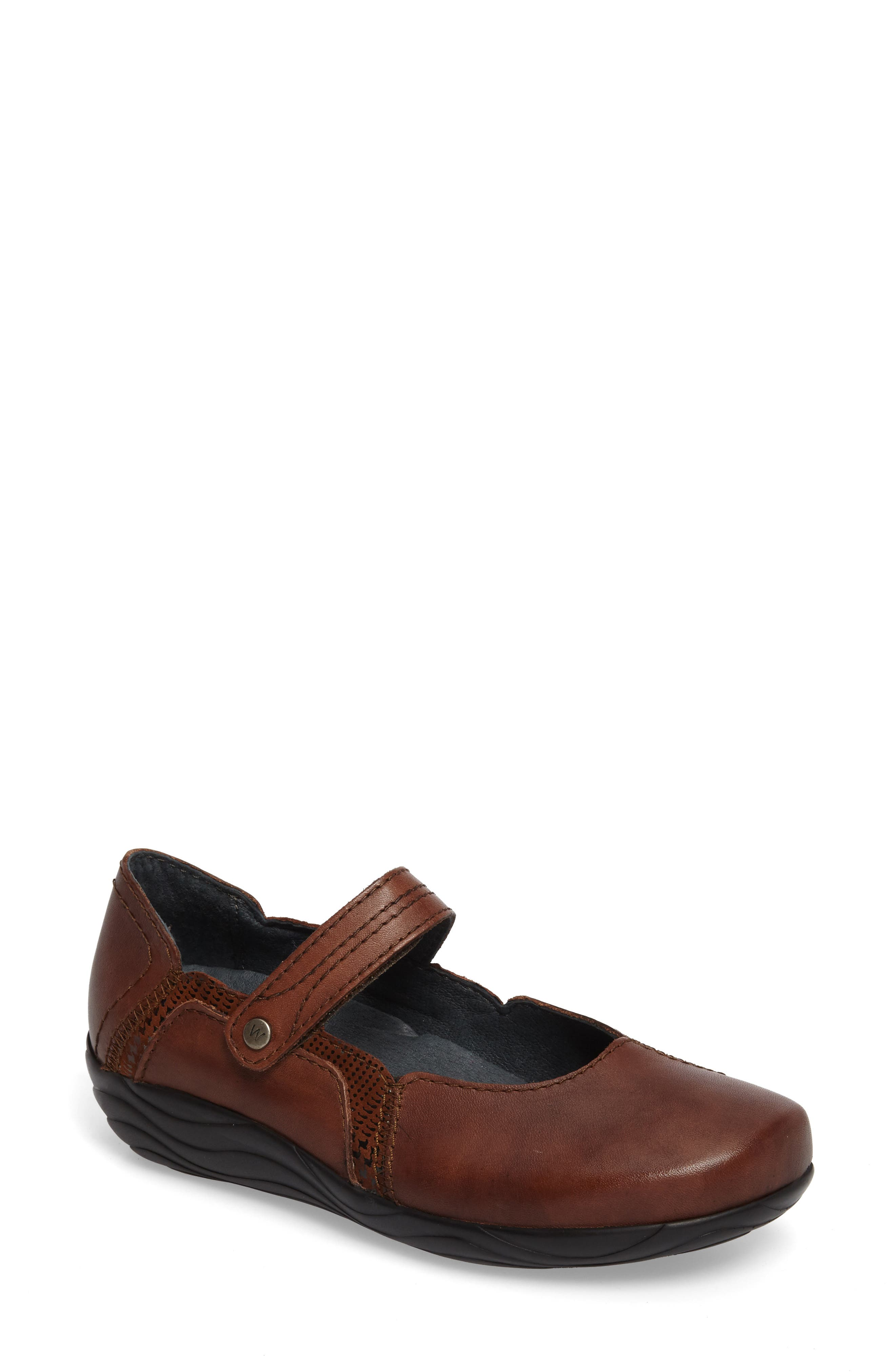 Gila Mary-Jane Flat,                         Main,                         color, Cognac Leather