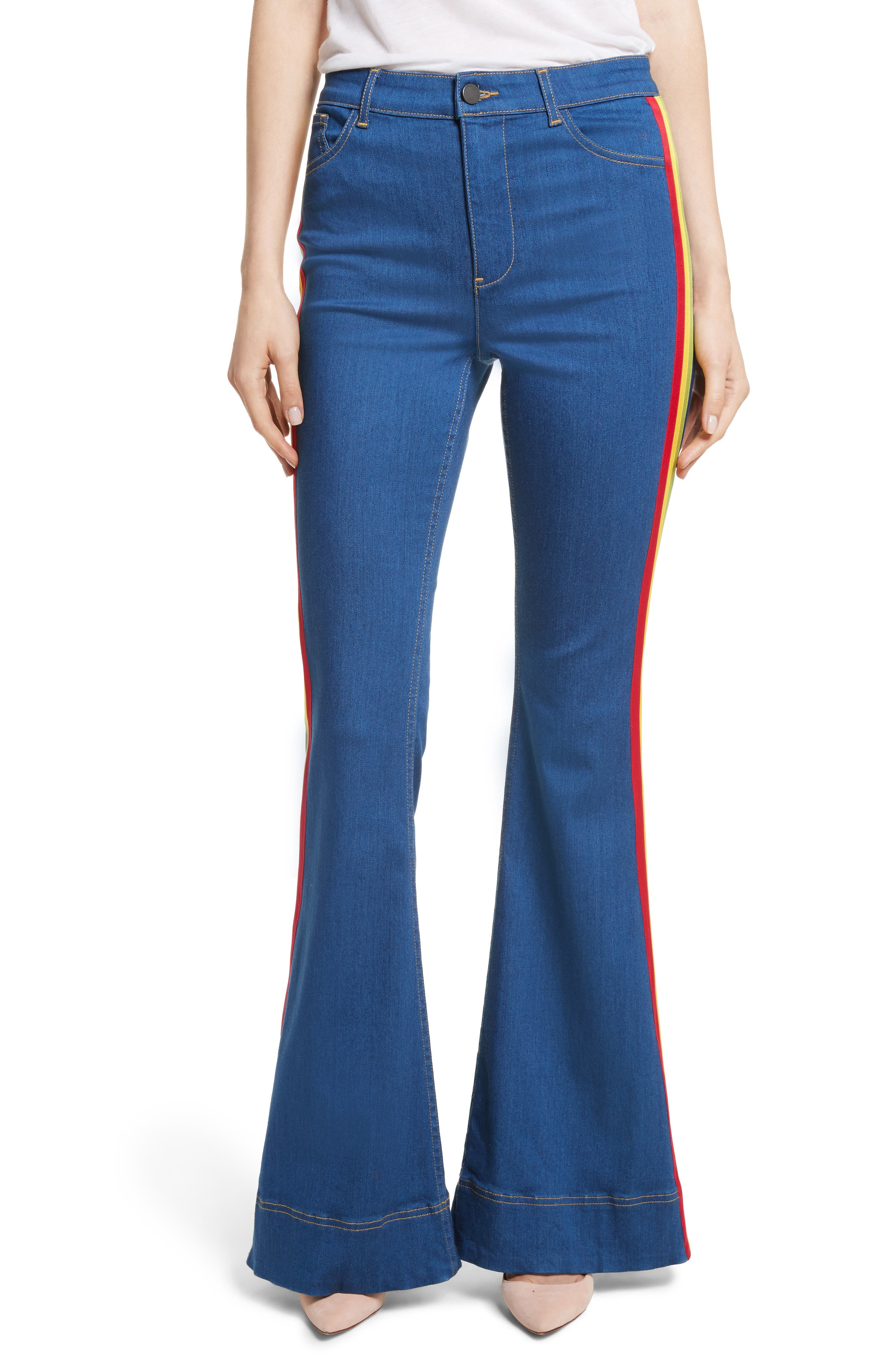 Kayleigh Bell Jeans,                             Main thumbnail 1, color,                             French Blue Multi
