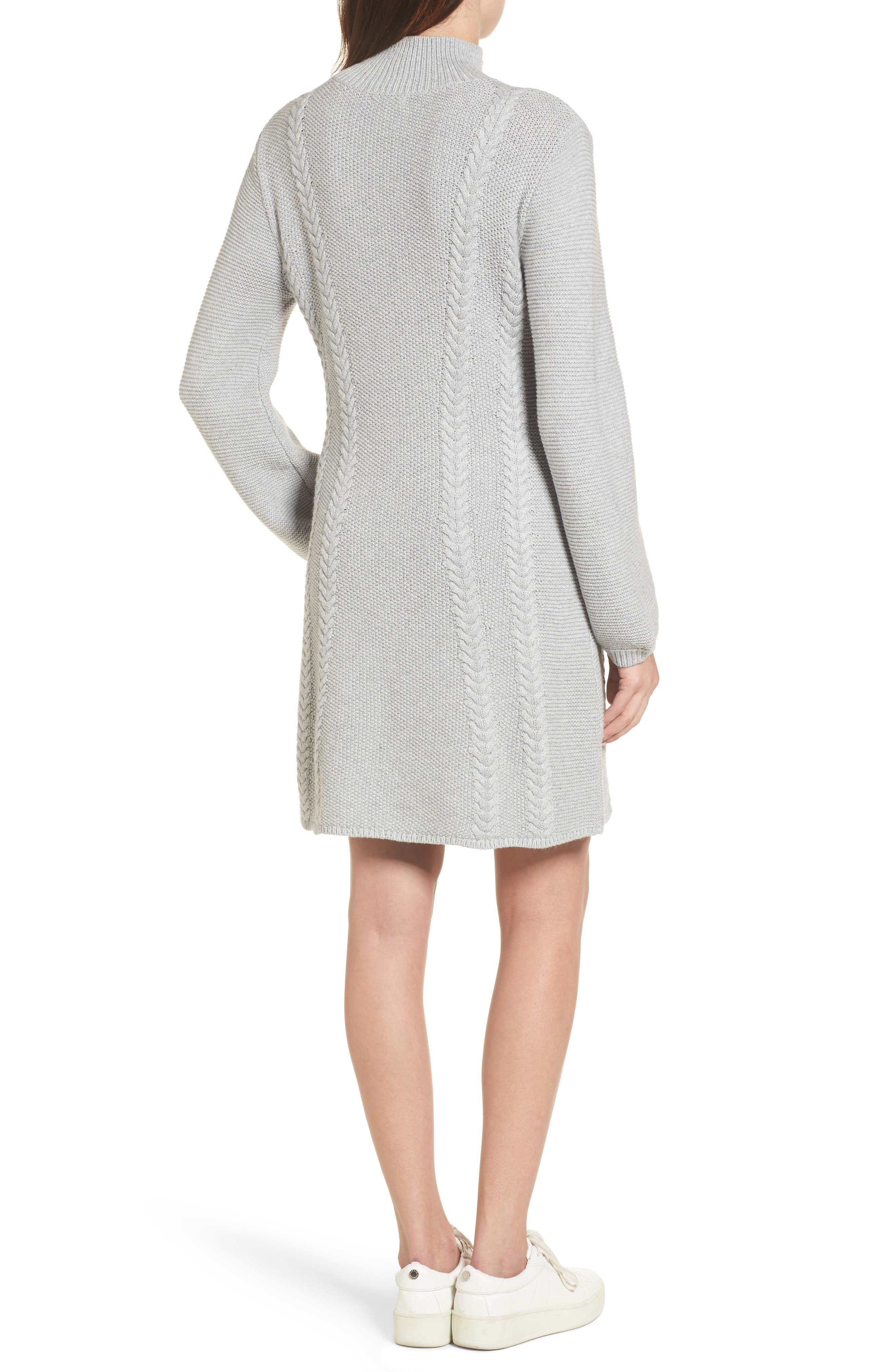 Cable Knit Sweater Dress,                             Alternate thumbnail 2, color,                             Grey Heather
