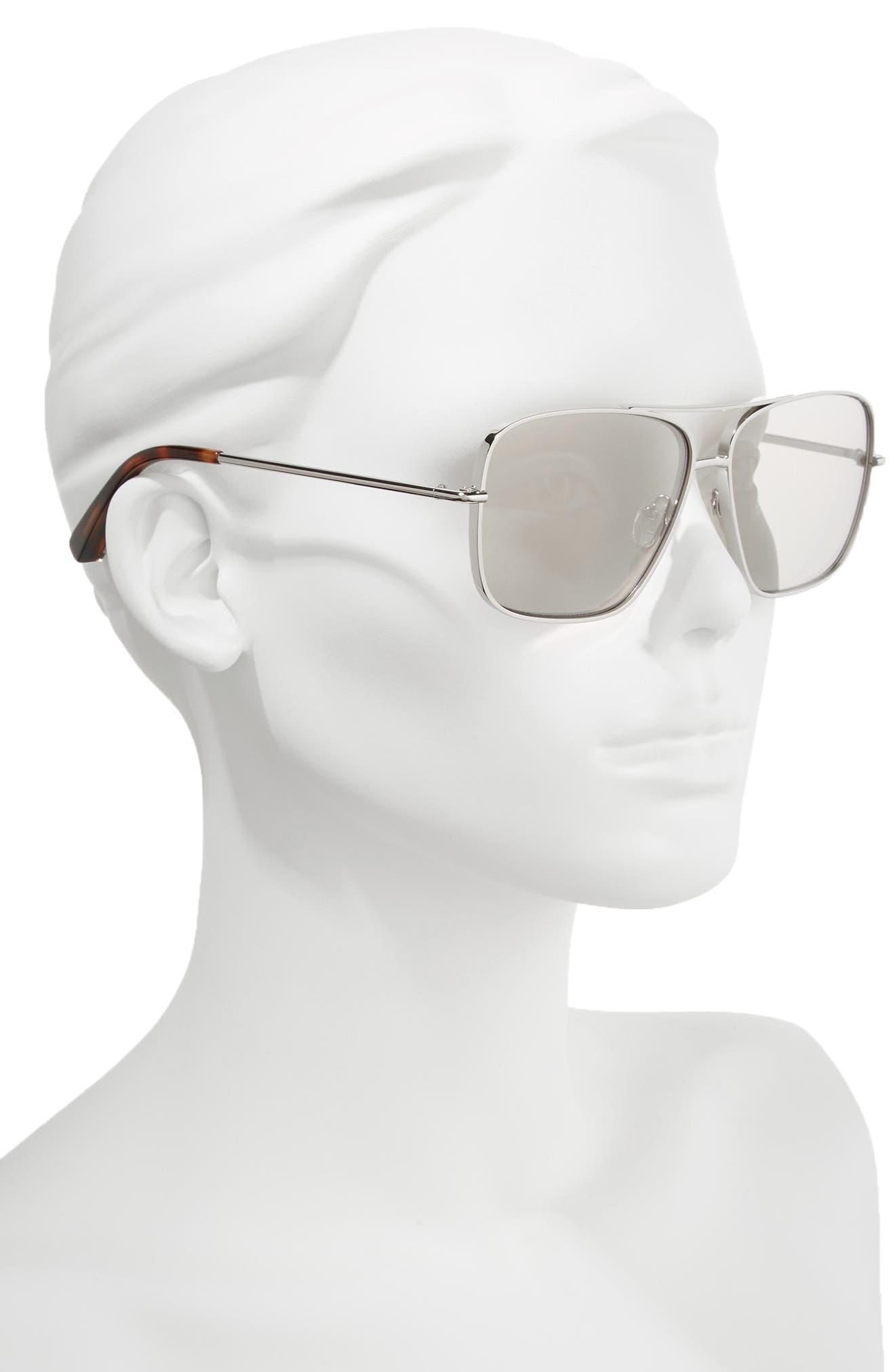 Deacon 61mm Aviator Sunglasses,                             Alternate thumbnail 2, color,                             Silver