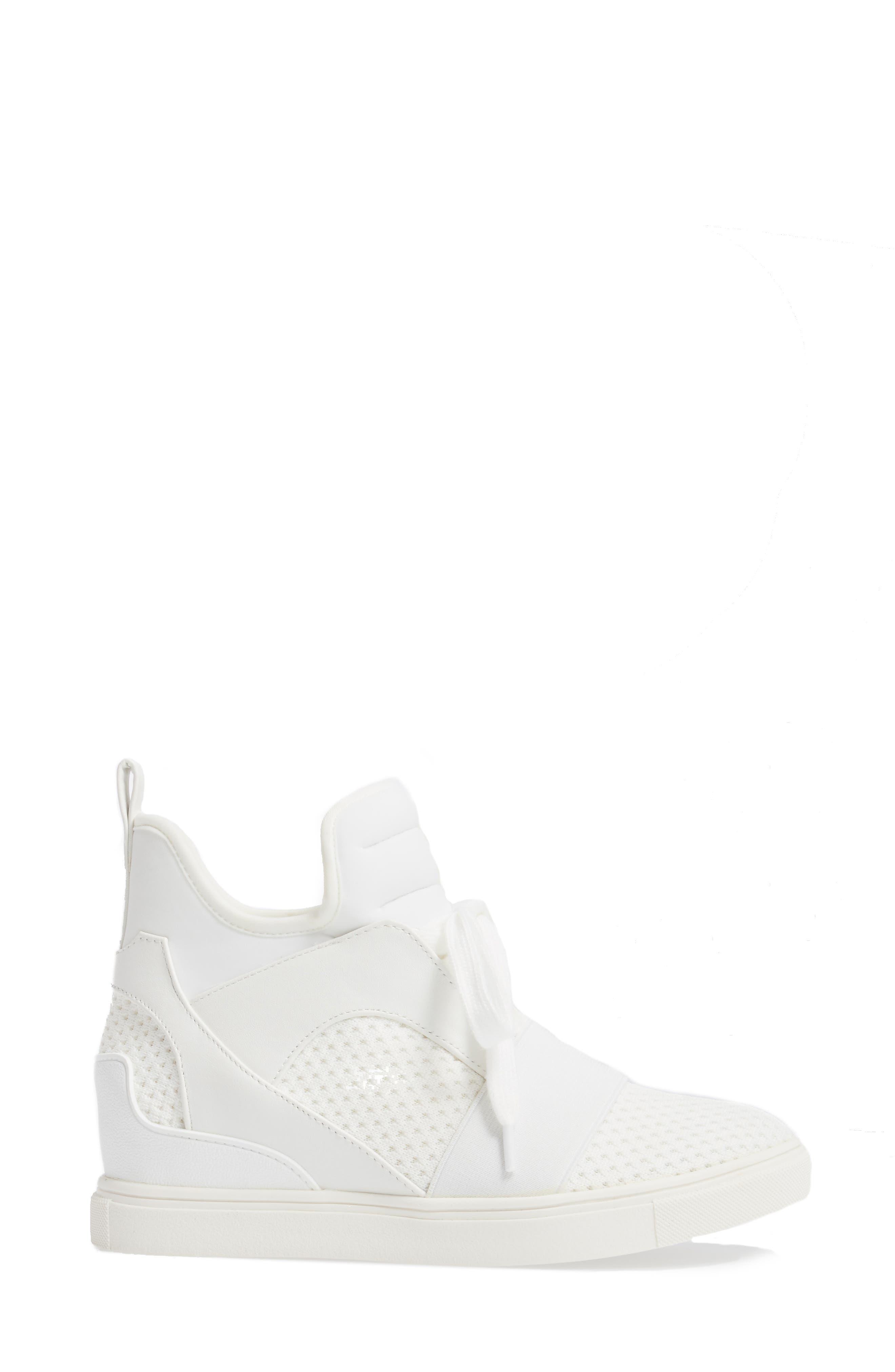 Lexie Wedge Sneaker,                             Alternate thumbnail 3, color,                             White