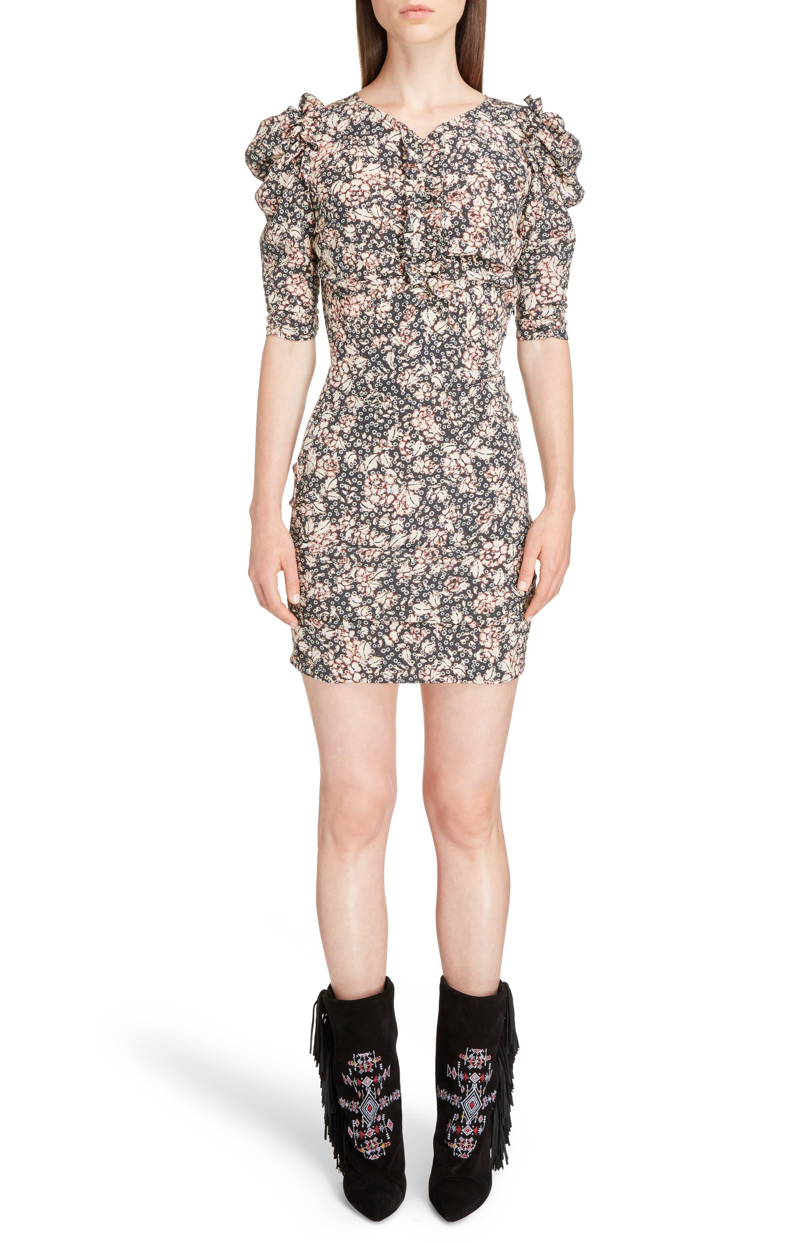 Brizia Floral Print Stretch Silk Puff Sleeve Dress,                         Main,                         color, Black