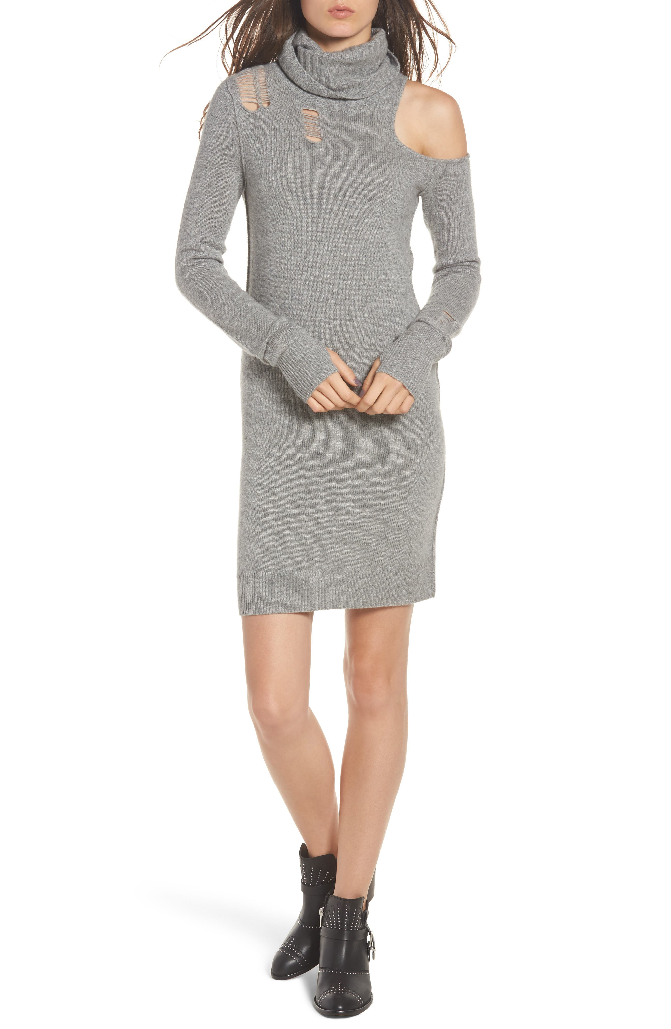 Destroyed Turtleneck Sweater Dress,                             Main thumbnail 1, color,                             Heather Grey