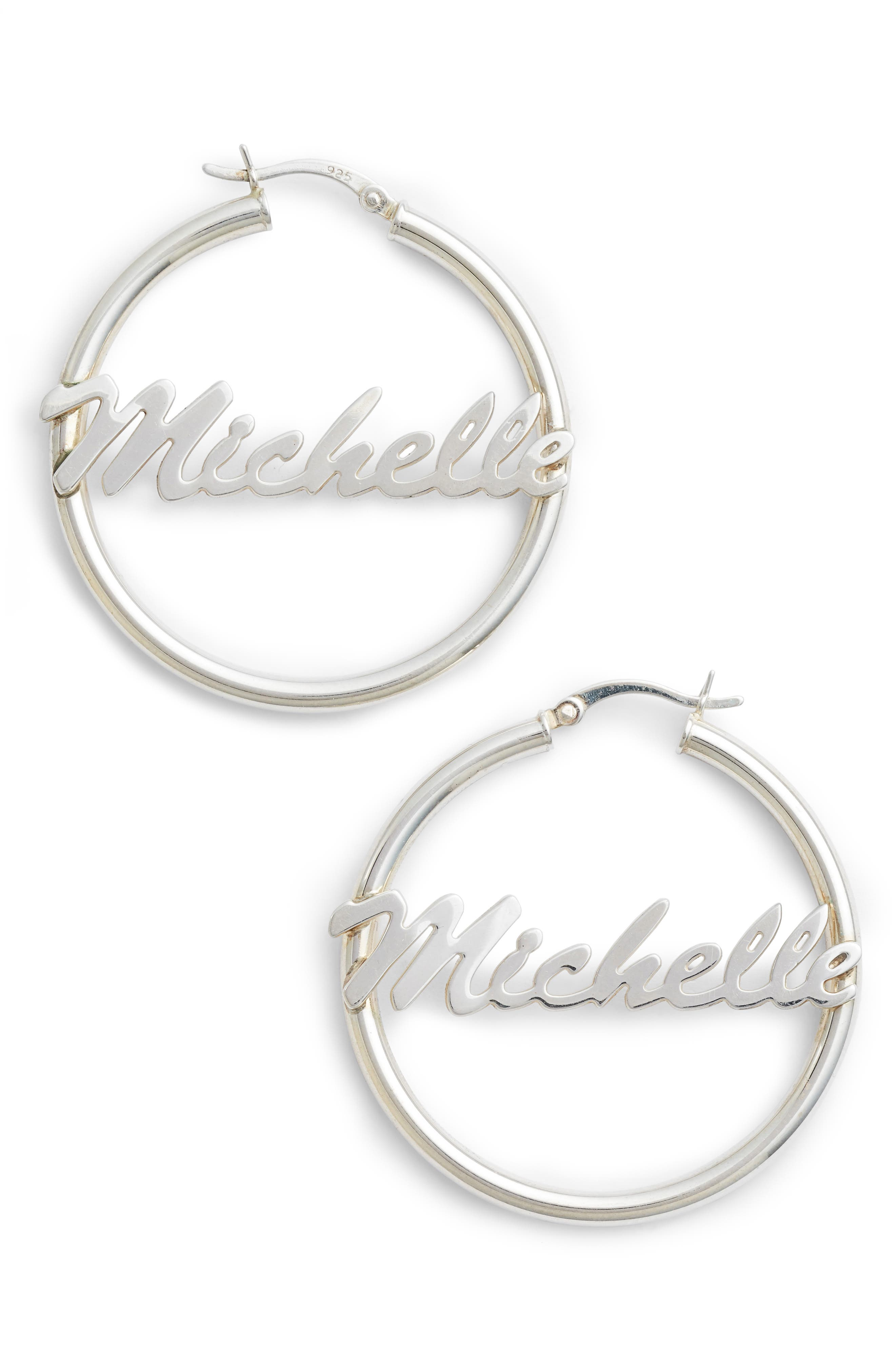 Personalized Large Hoop Earrings,                             Main thumbnail 1, color,                             Silver