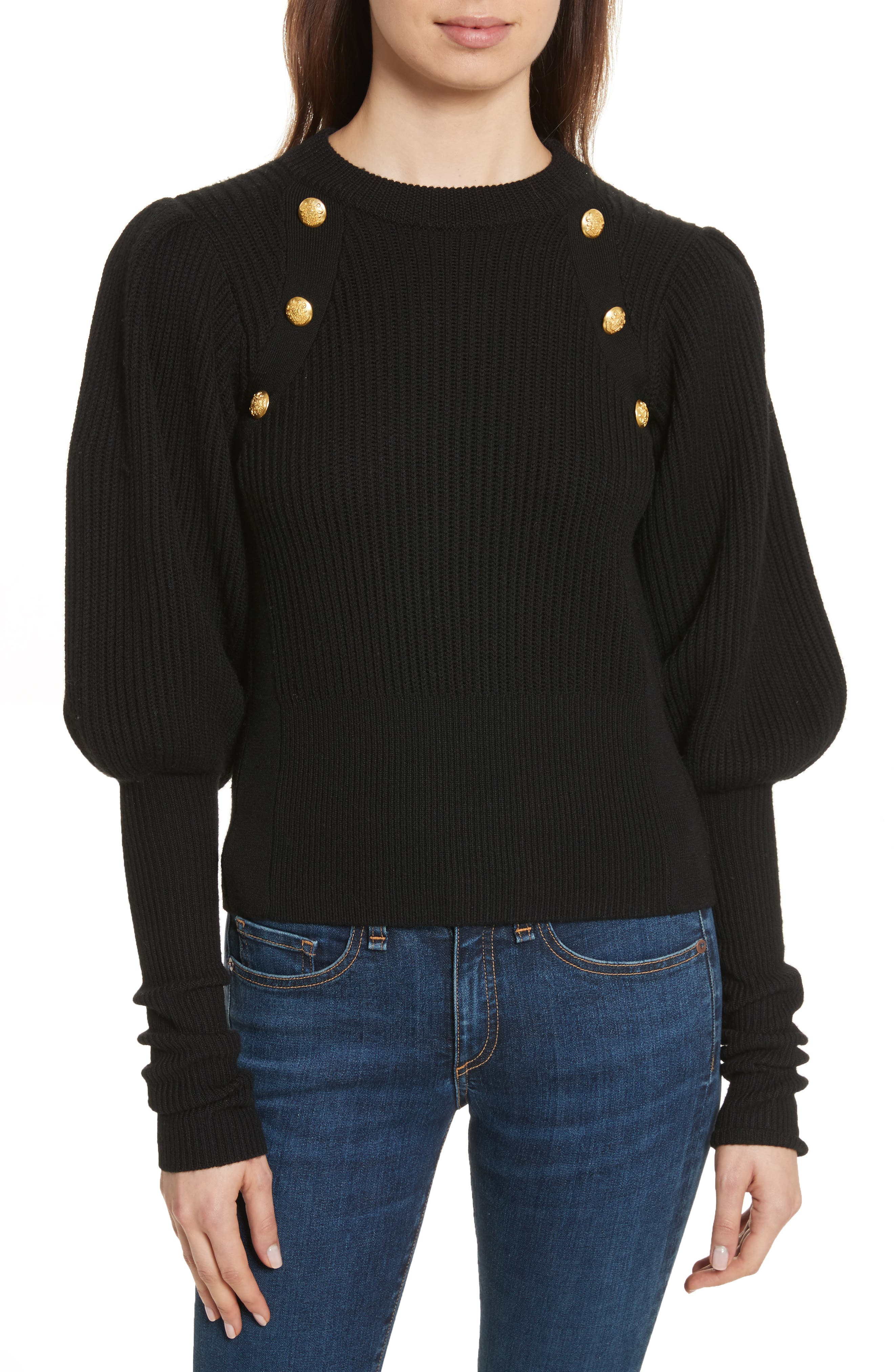 Jude Leg of Mutton Sleeve Sweater,                             Main thumbnail 1, color,                             Black