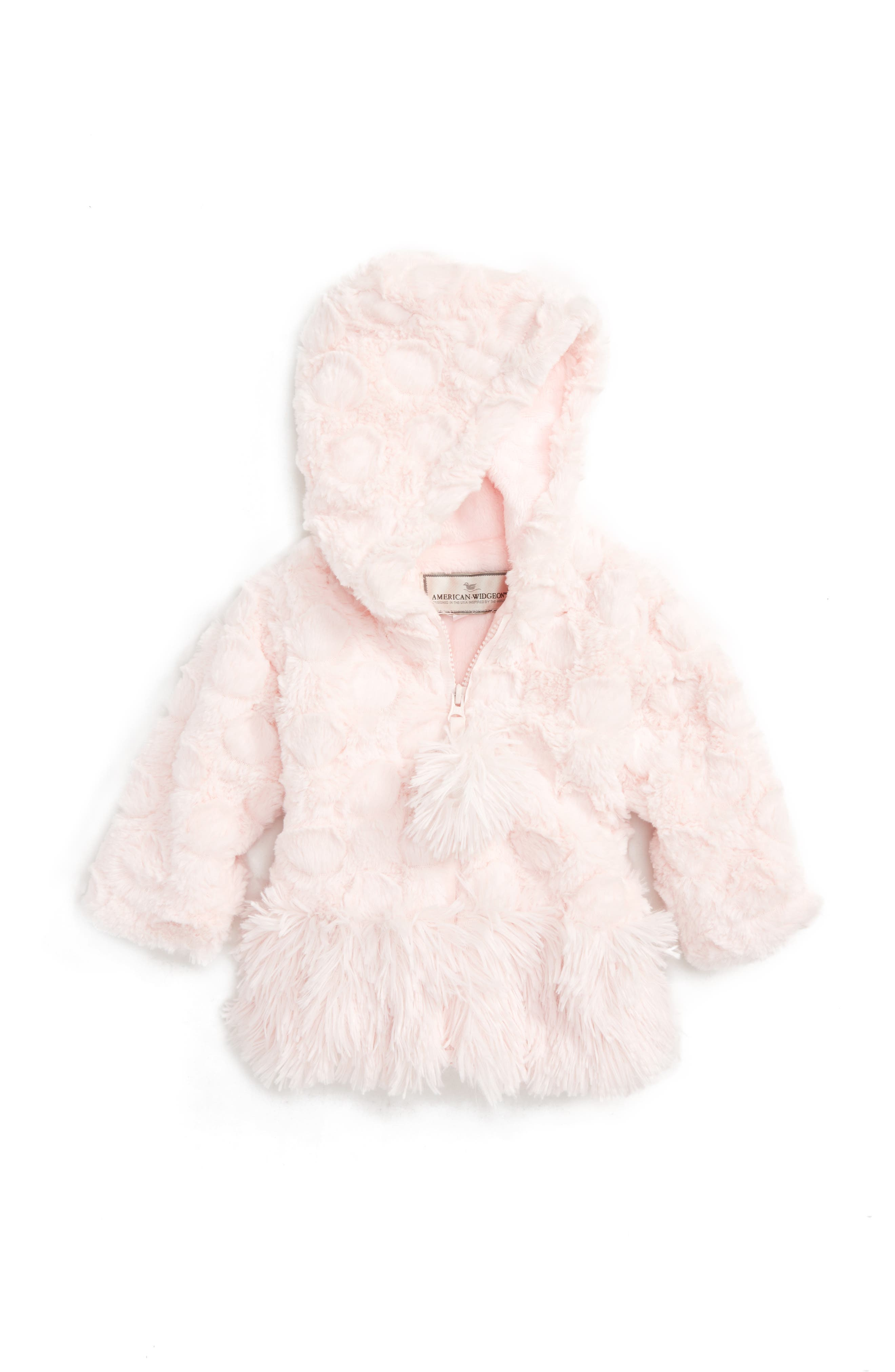 Widgeon Hooded Shaggy Dot Faux Fur Coat (Baby Girls)