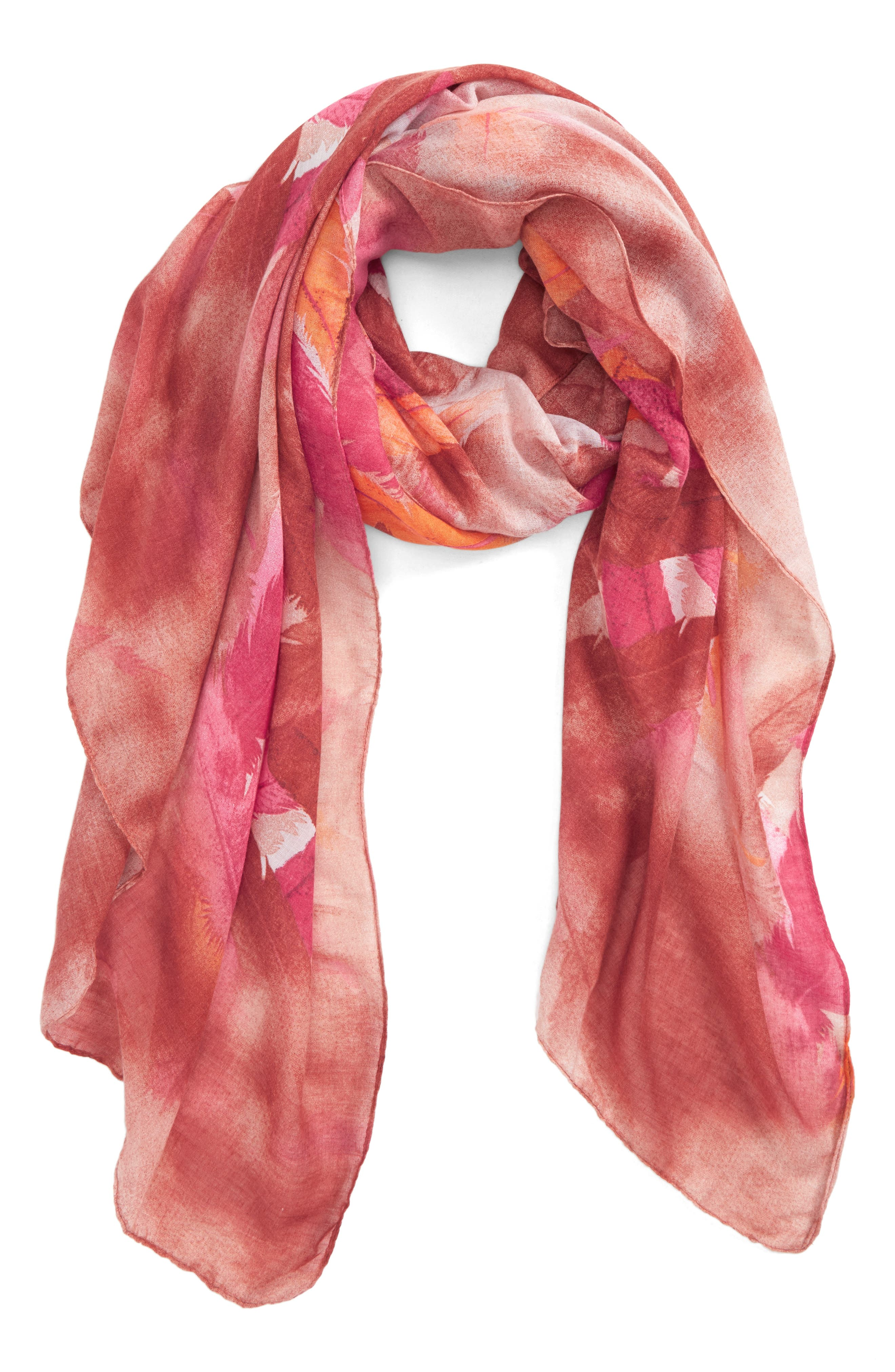 Accessory Collective Abstract Leaf Print Oblong Scarf,                         Main,                         color, Red Multi