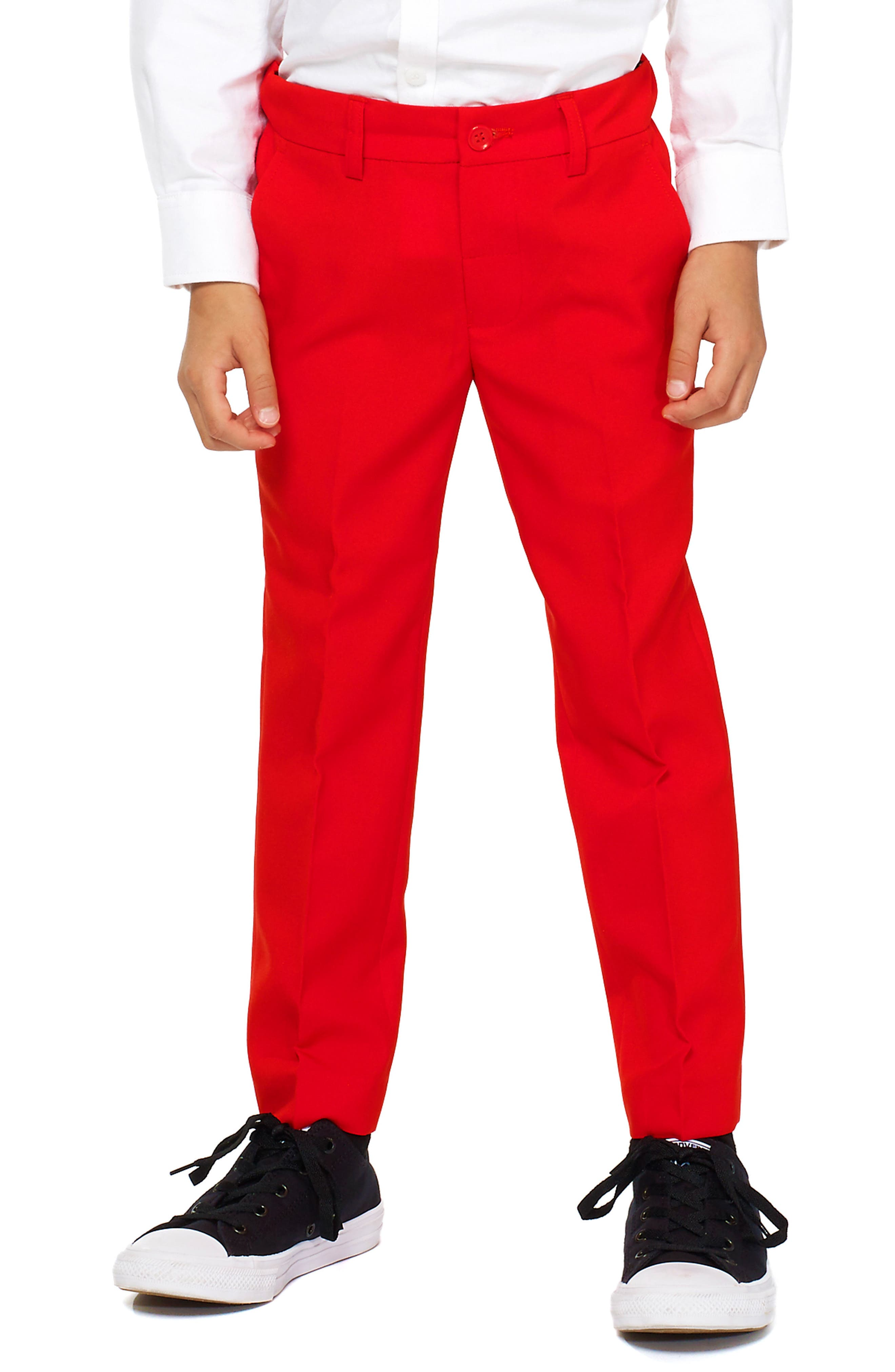 Oppo Red Devil Two-Piece Suit with Tie,                             Alternate thumbnail 4, color,                             Red